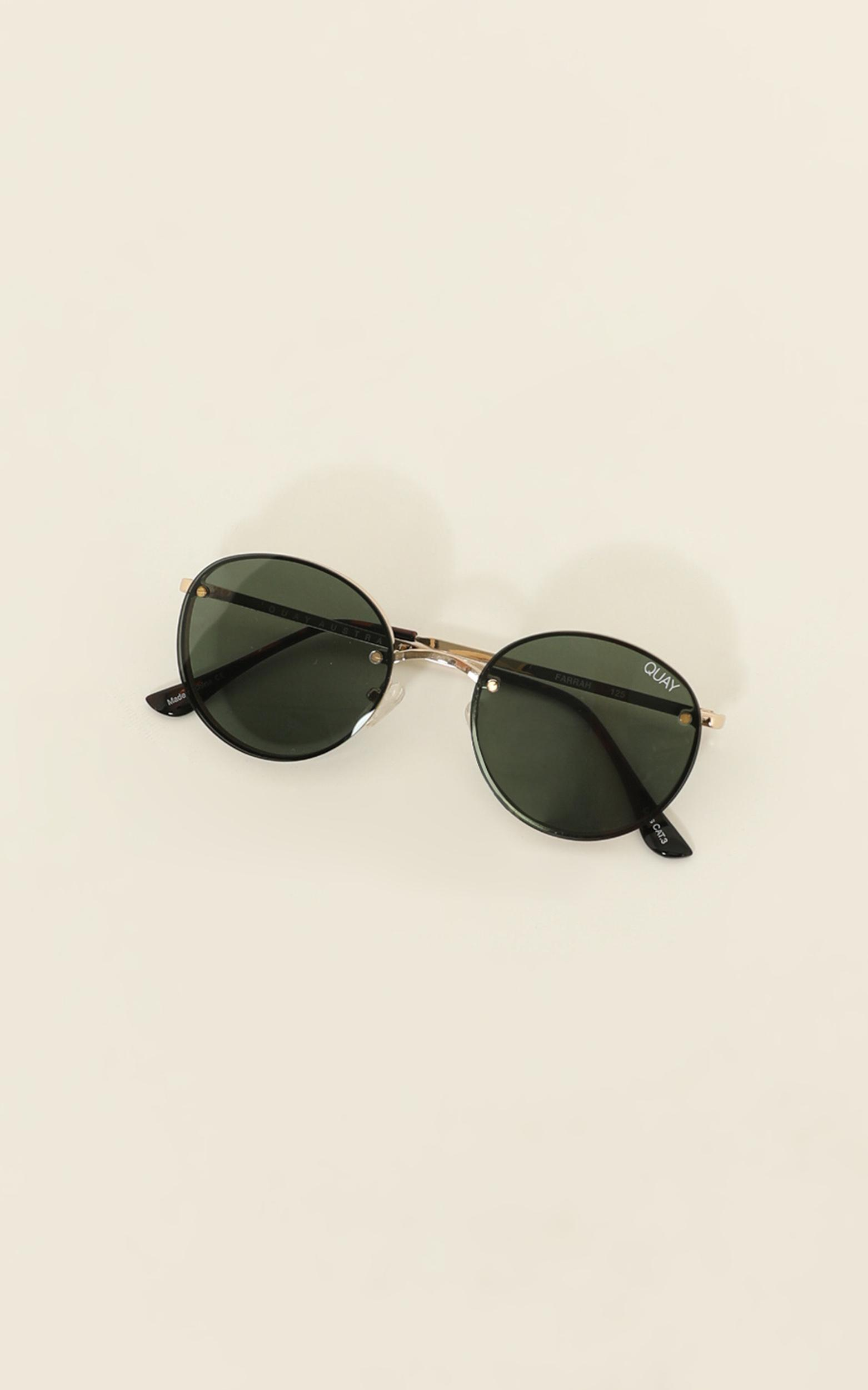 Quay - Farrah Sunglasses In Gold / Green Lens, Gold, hi-res image number null