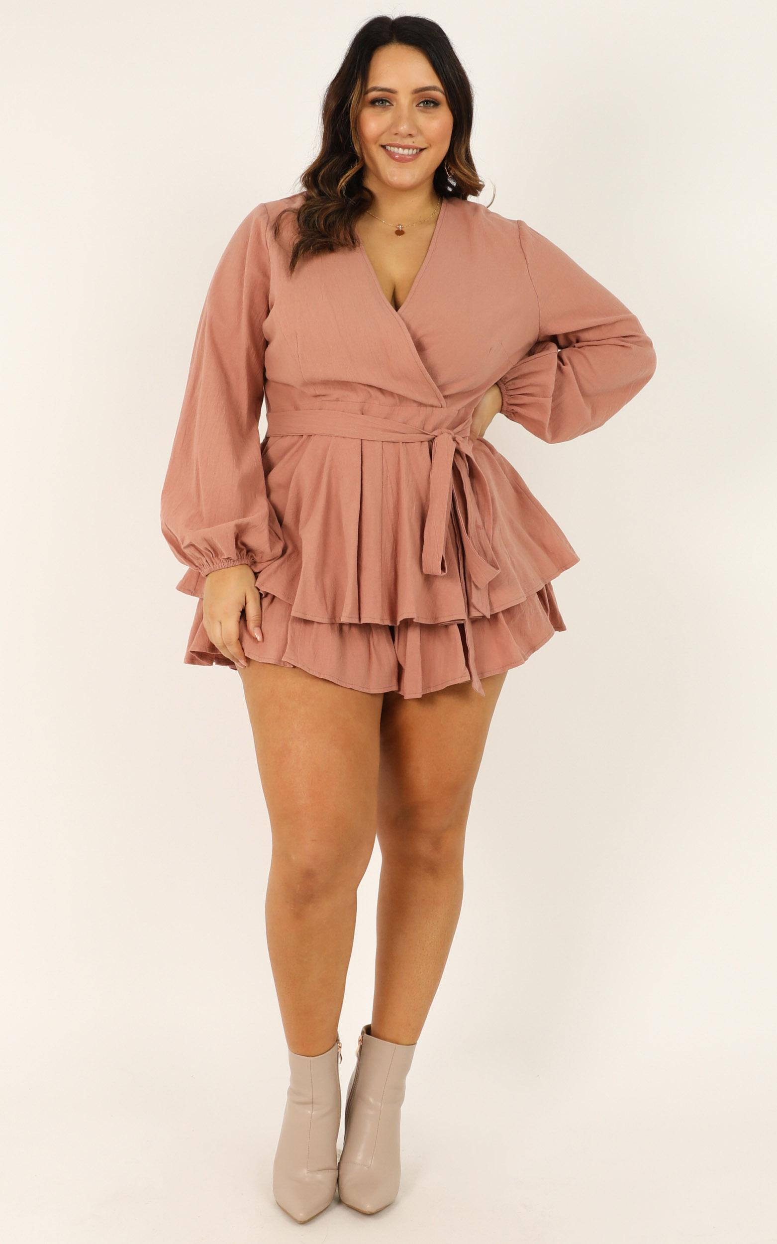 Wandering Around Playsuit in Dusty Rose Linen Look - 20, PNK1, hi-res image number null