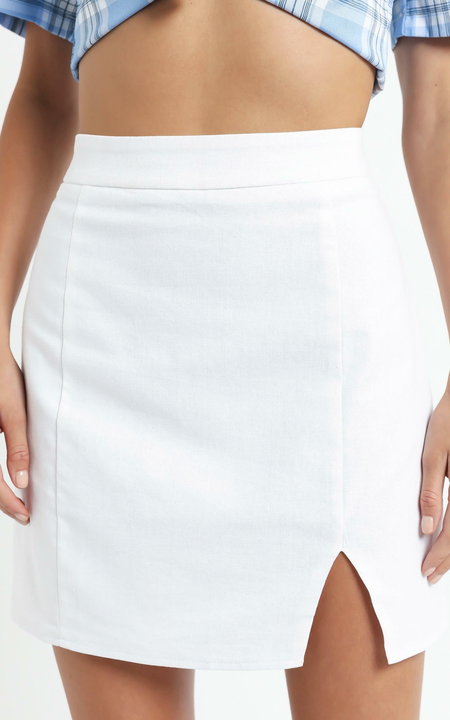 International Babe Skirt In White Linen Look - 20 (XXXXL), White, hi-res image number null