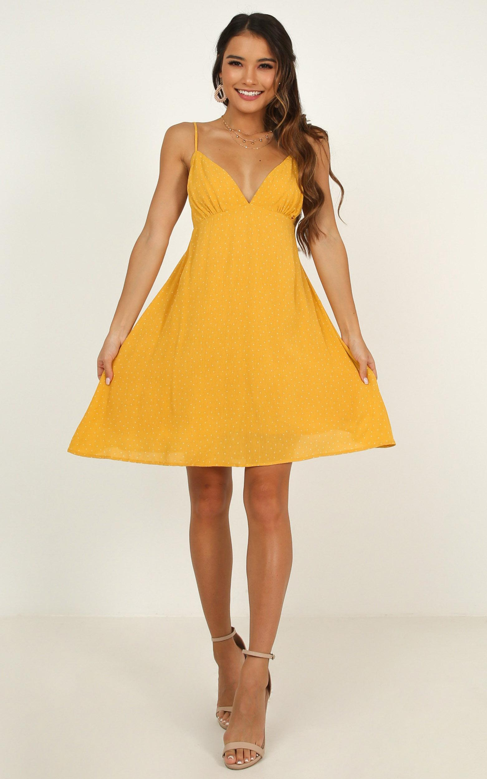 Special Mention Dress in yellow spot, Yellow, hi-res image number null