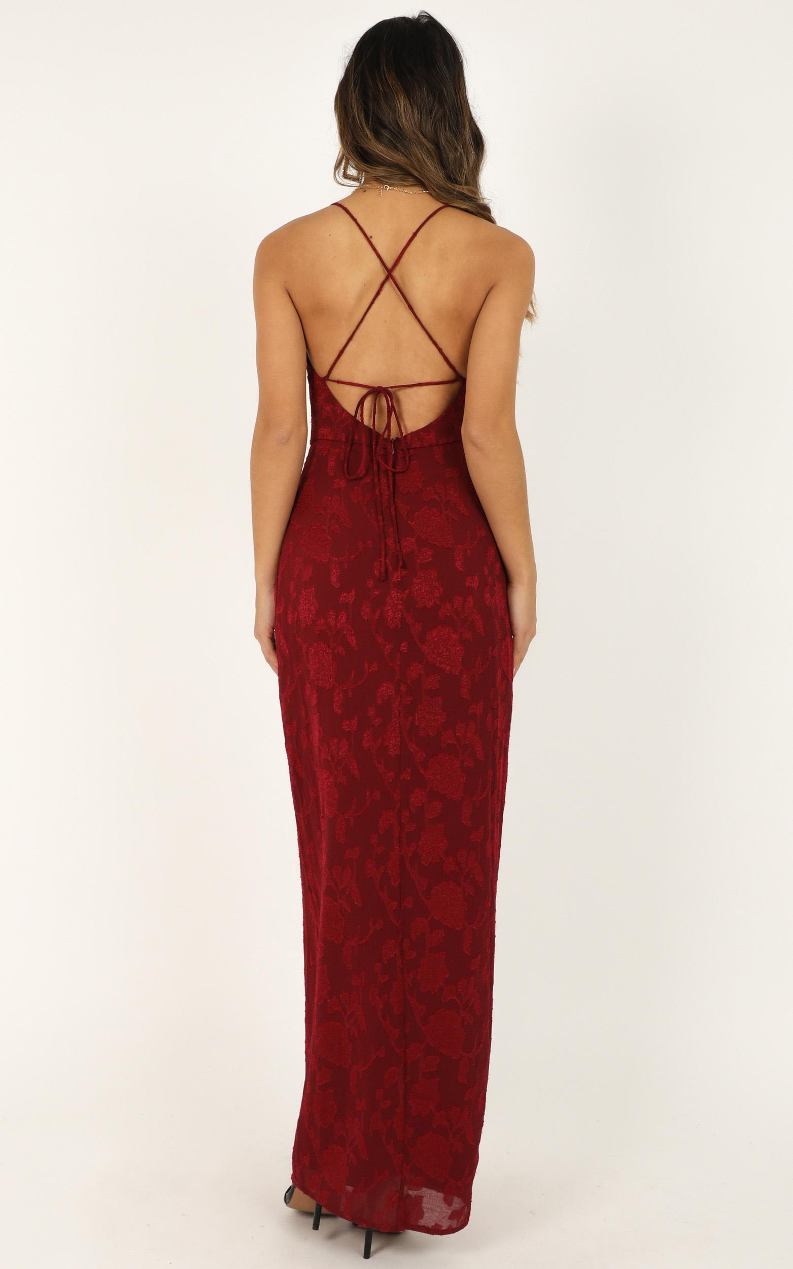 They Crisscrossed Maxi Dress in wine jacquard - 18 (XXXL), Wine, hi-res image number null