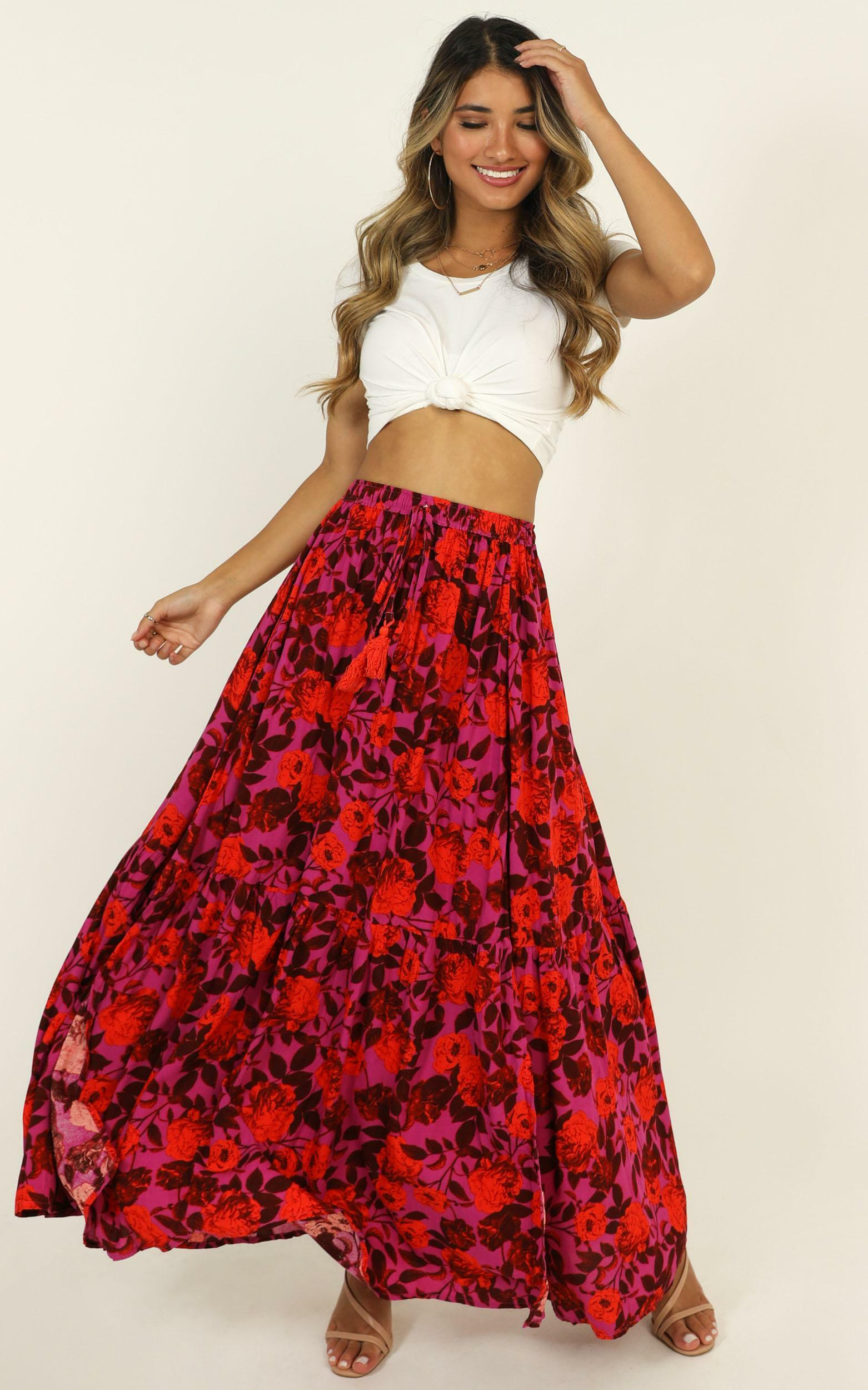 Off To Bali skirt in pink print - 16 (XXL), Pink, hi-res image number null