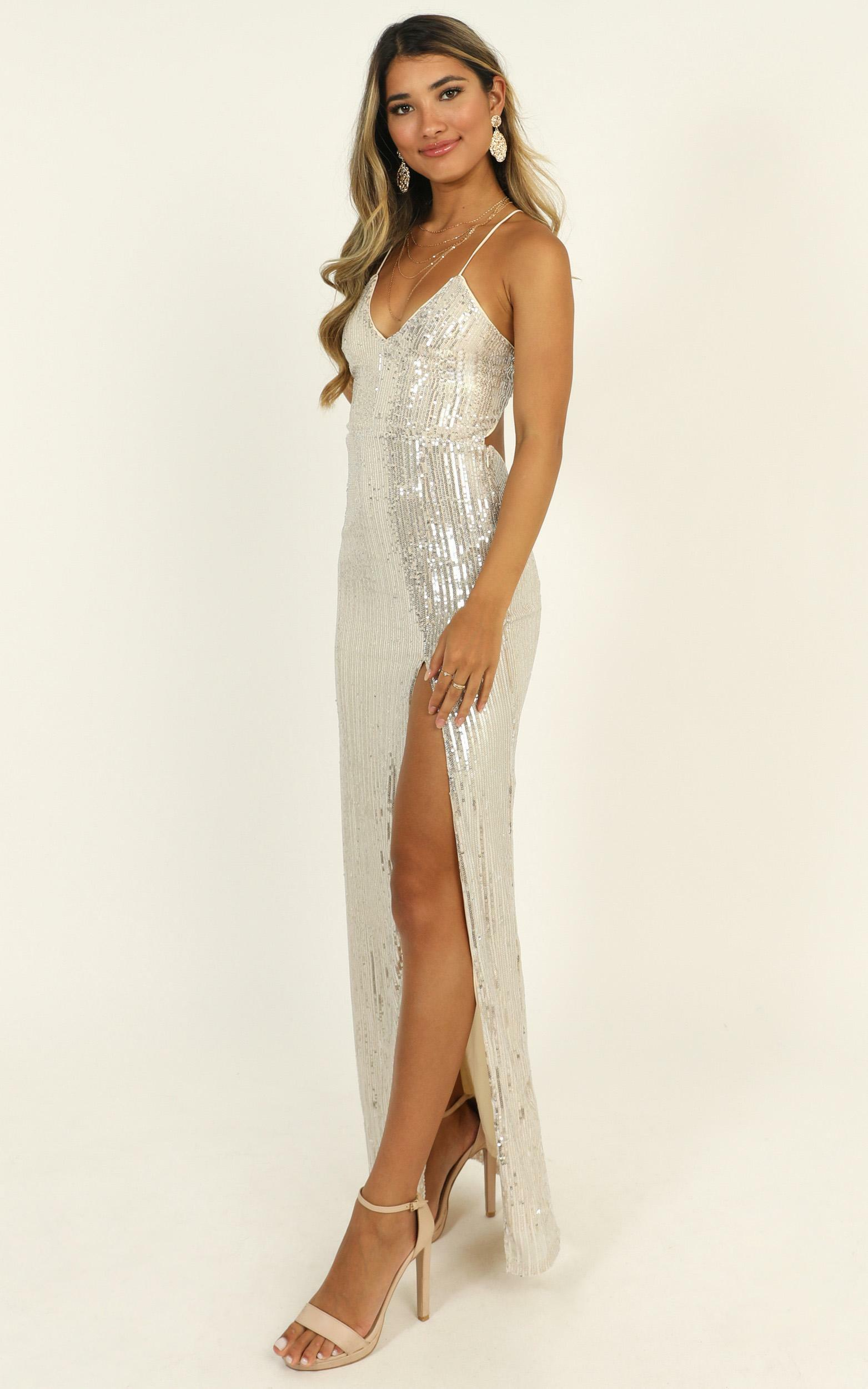 Get With the Times maxi dress in silver sequin - 12 (L), Silver, hi-res image number null