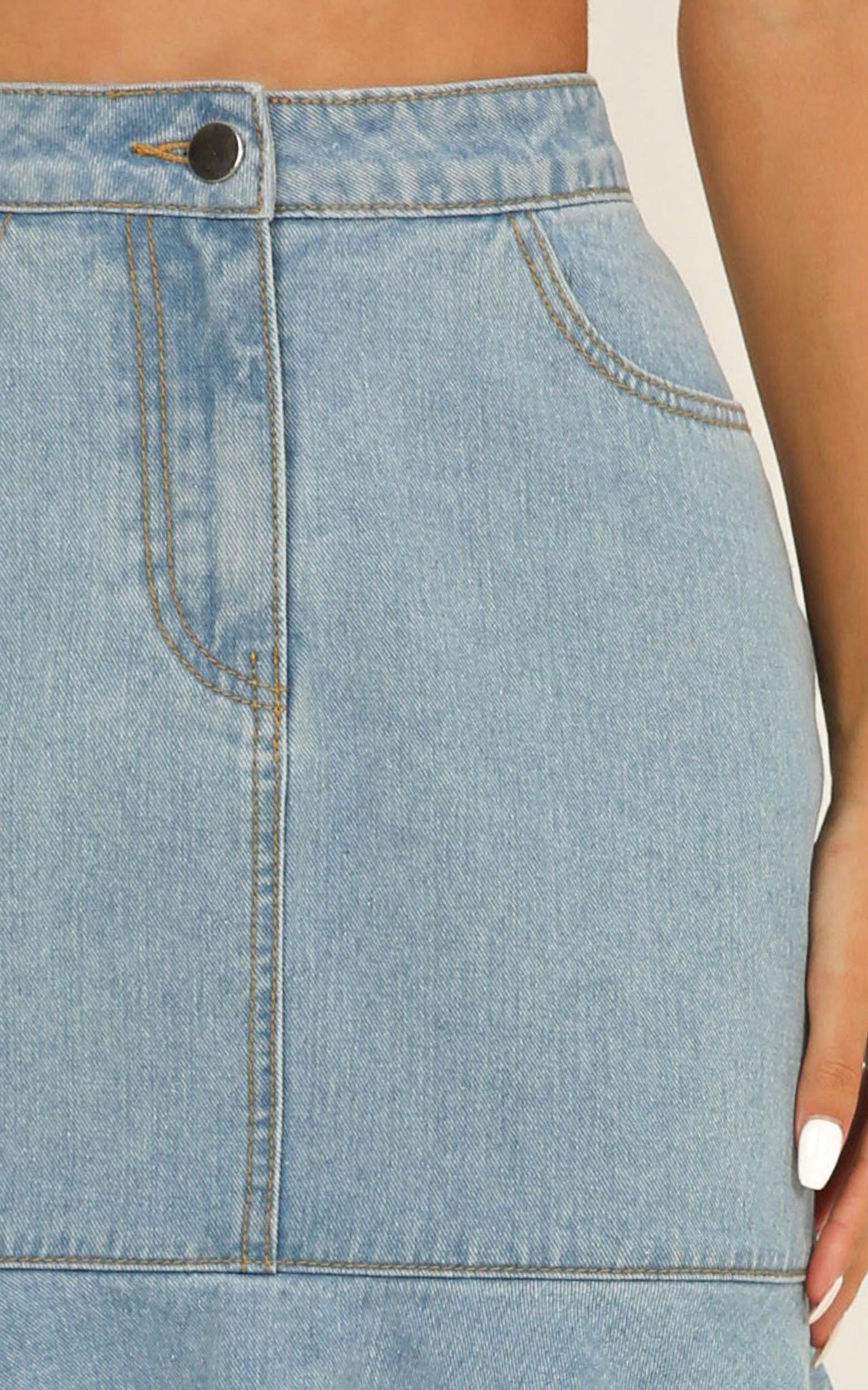 I Adore You Denim Skirt In light blue wash - 12 (L), Blue, hi-res image number null