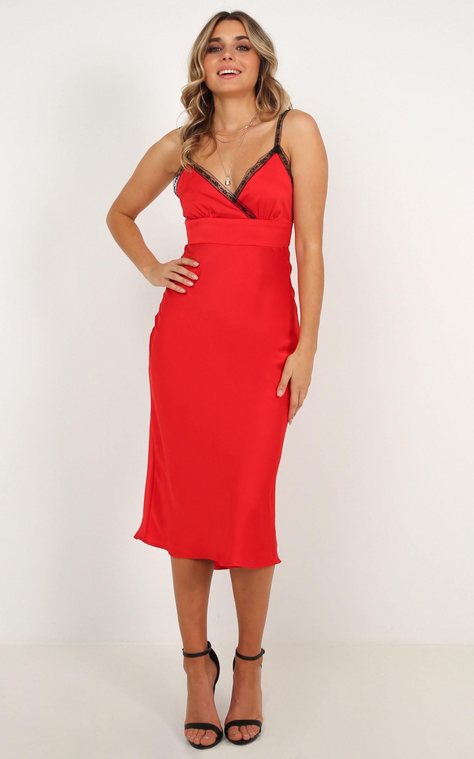 Through Fire dress in red satin - 12 (L), Red, hi-res image number null