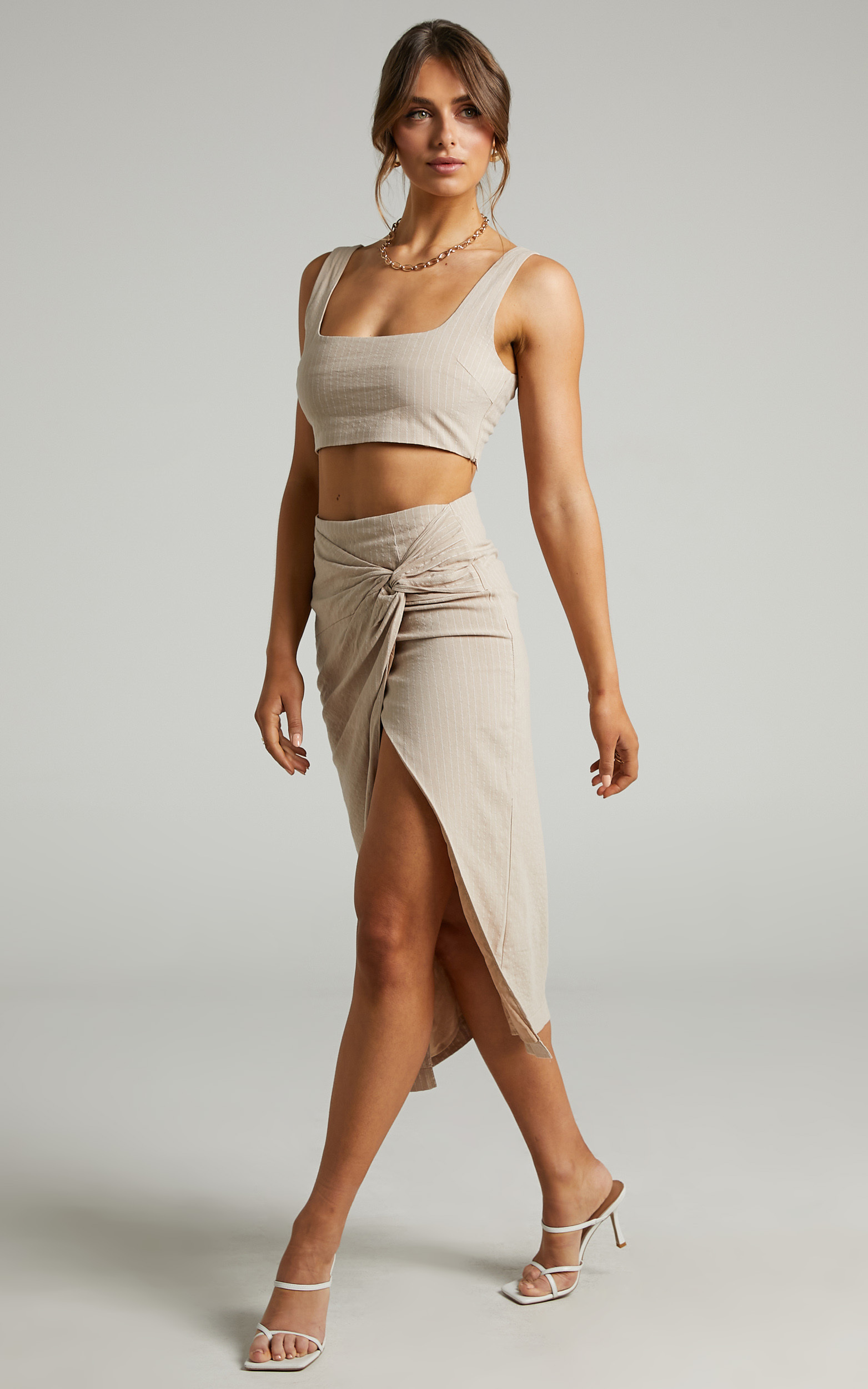 Avery Crop top and Twist Midi skirt Two Piece Set in Beige Stripe - 06, BRN2, hi-res image number null