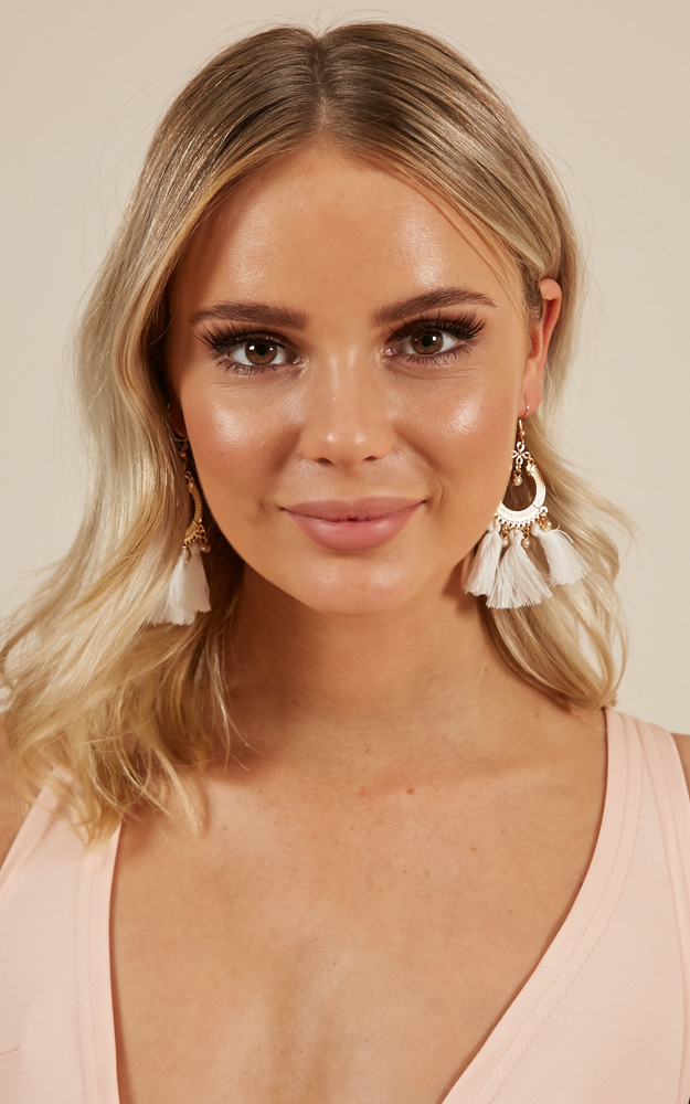Believe You Can earrings in white, , hi-res image number null