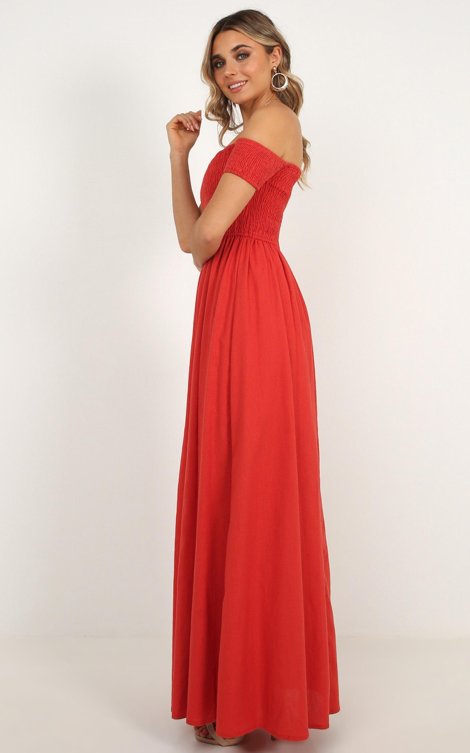 Game Changing maxi dress in rust linen look - 6 (XS), Rust, hi-res image number null