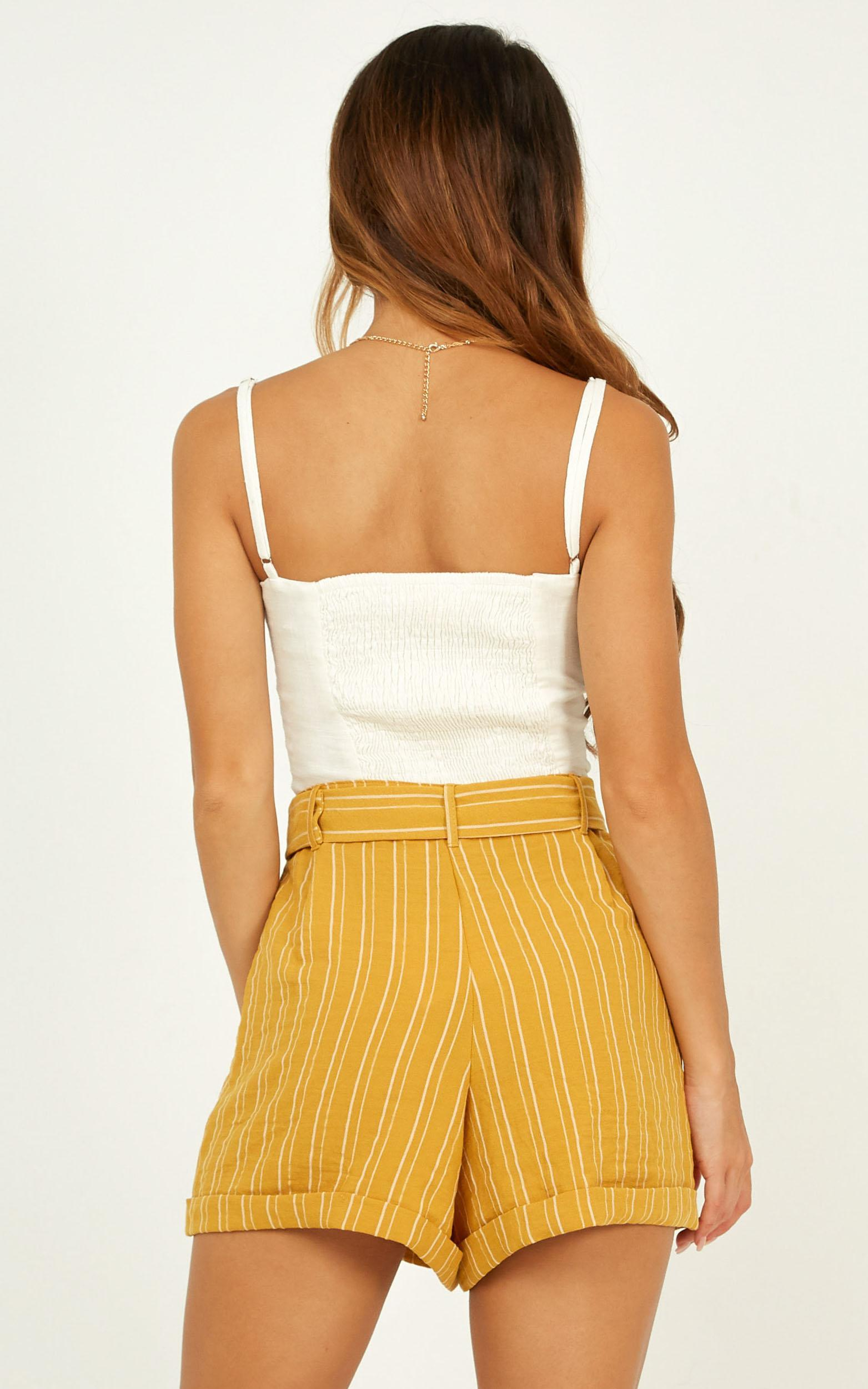 Nothing Lasts Forever Shorts In mustard stripe linen look - 14 (XL), Mustard, hi-res image number null