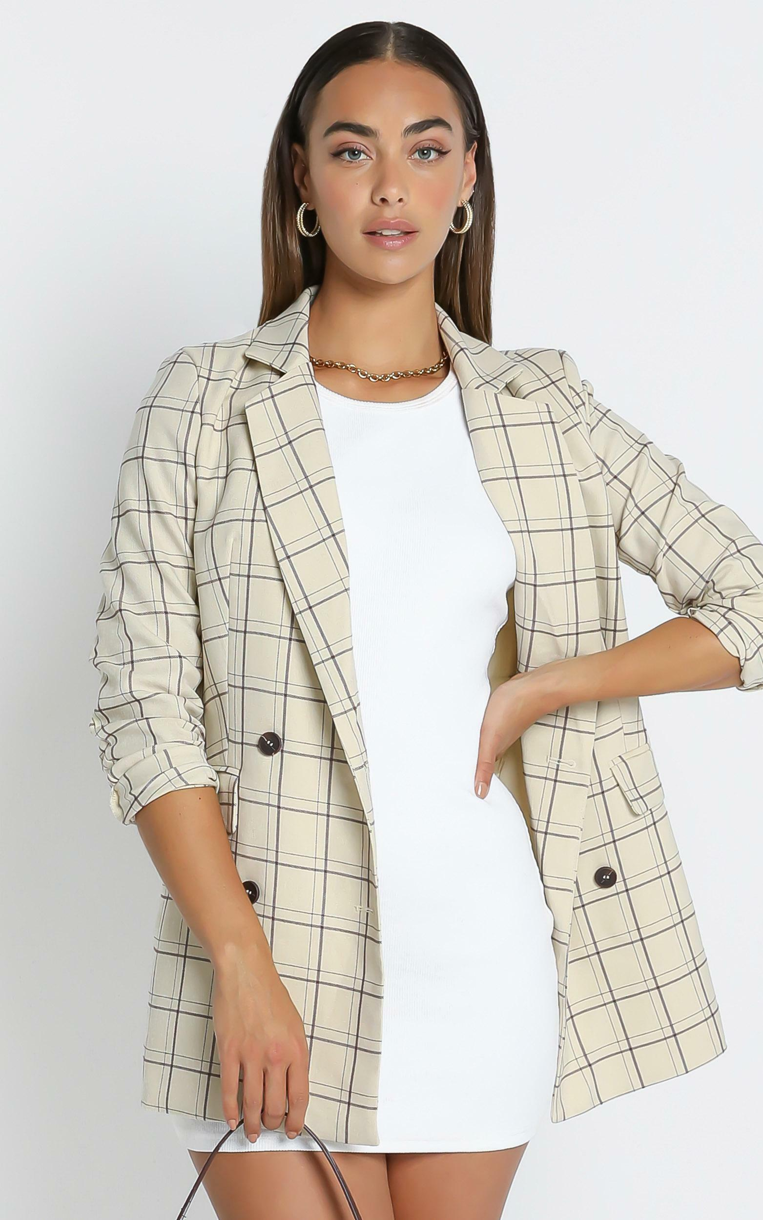 Sort it out Blazer in Cream Check - 4 (XXS), Cream, hi-res image number null