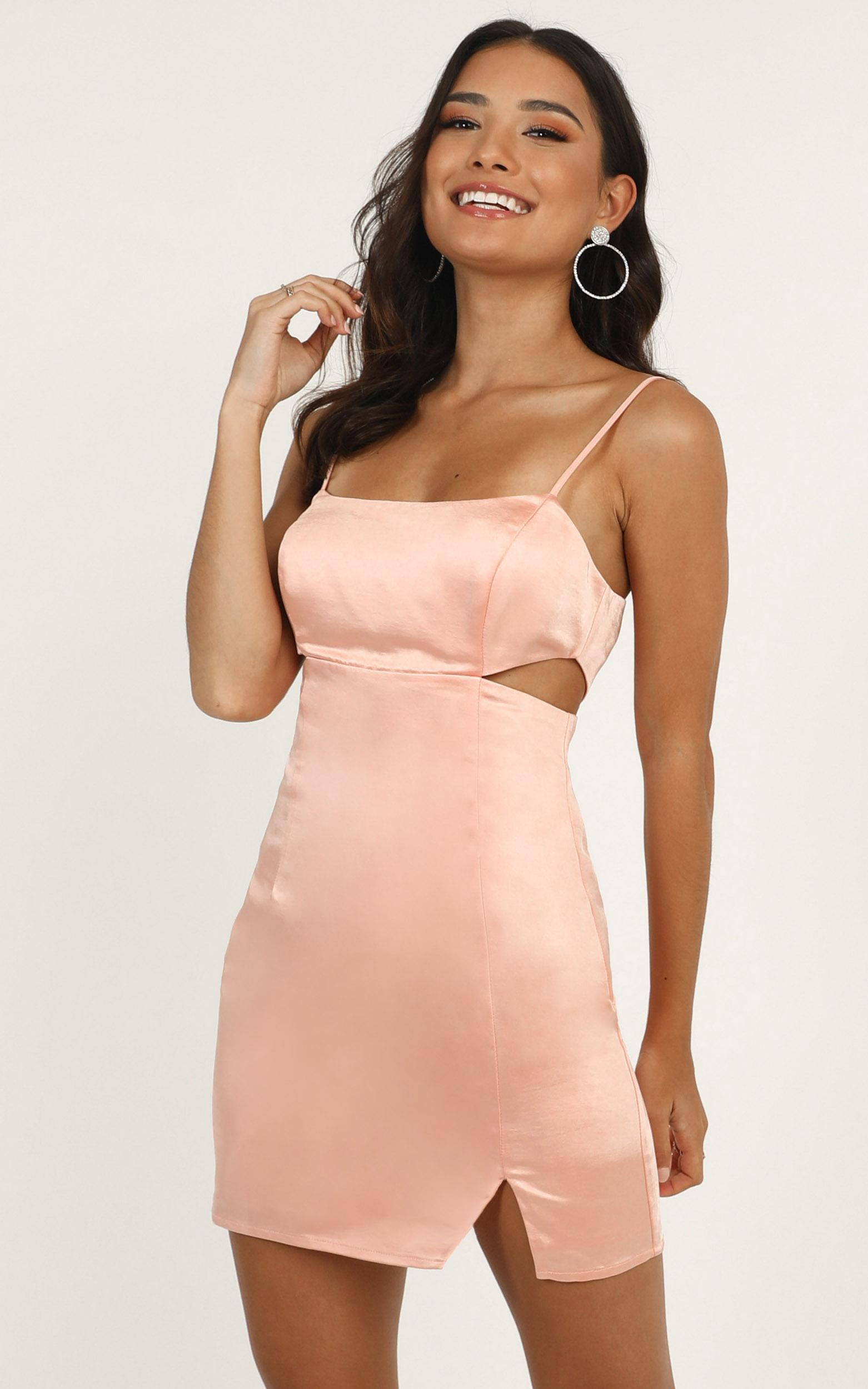 Talking Pretty Dress in blush satin - 14 (XL), Blush, hi-res image number null