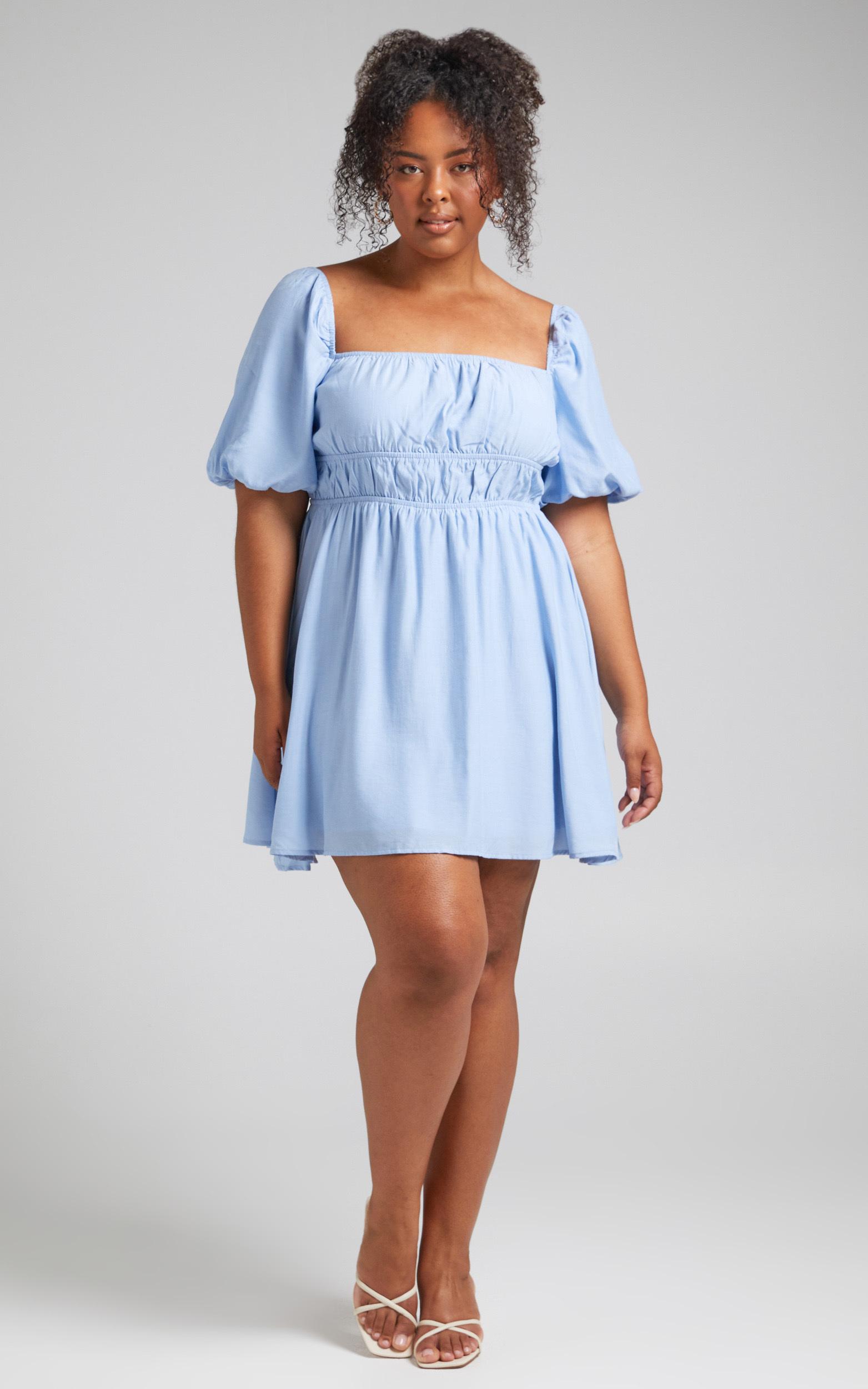 Maretta Stretch Waist Square Neck Mini Dress in Blue - 04, BLU1, hi-res image number null
