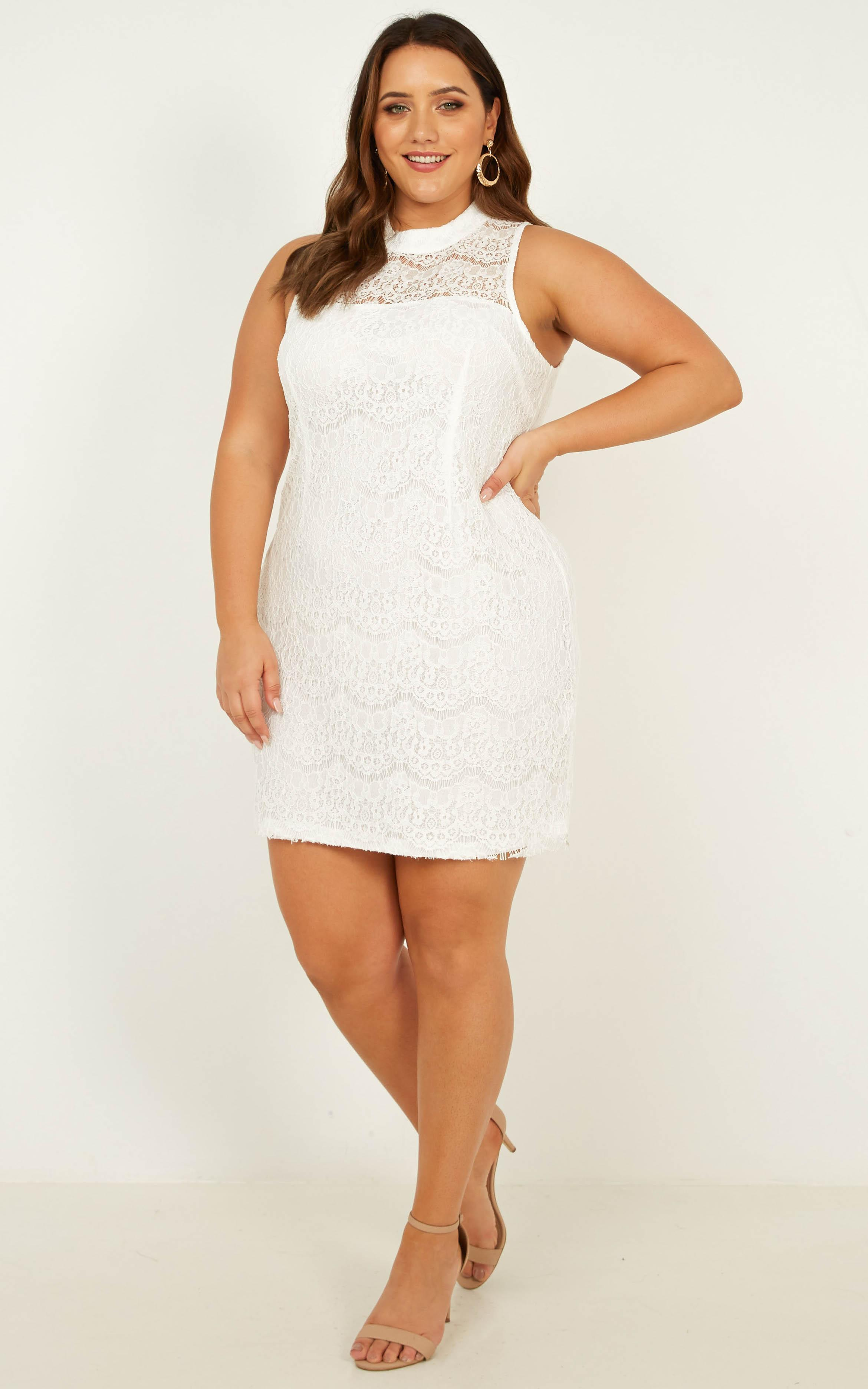 Get The Moves on Dress in white lace - 14 (XL), White, hi-res image number null