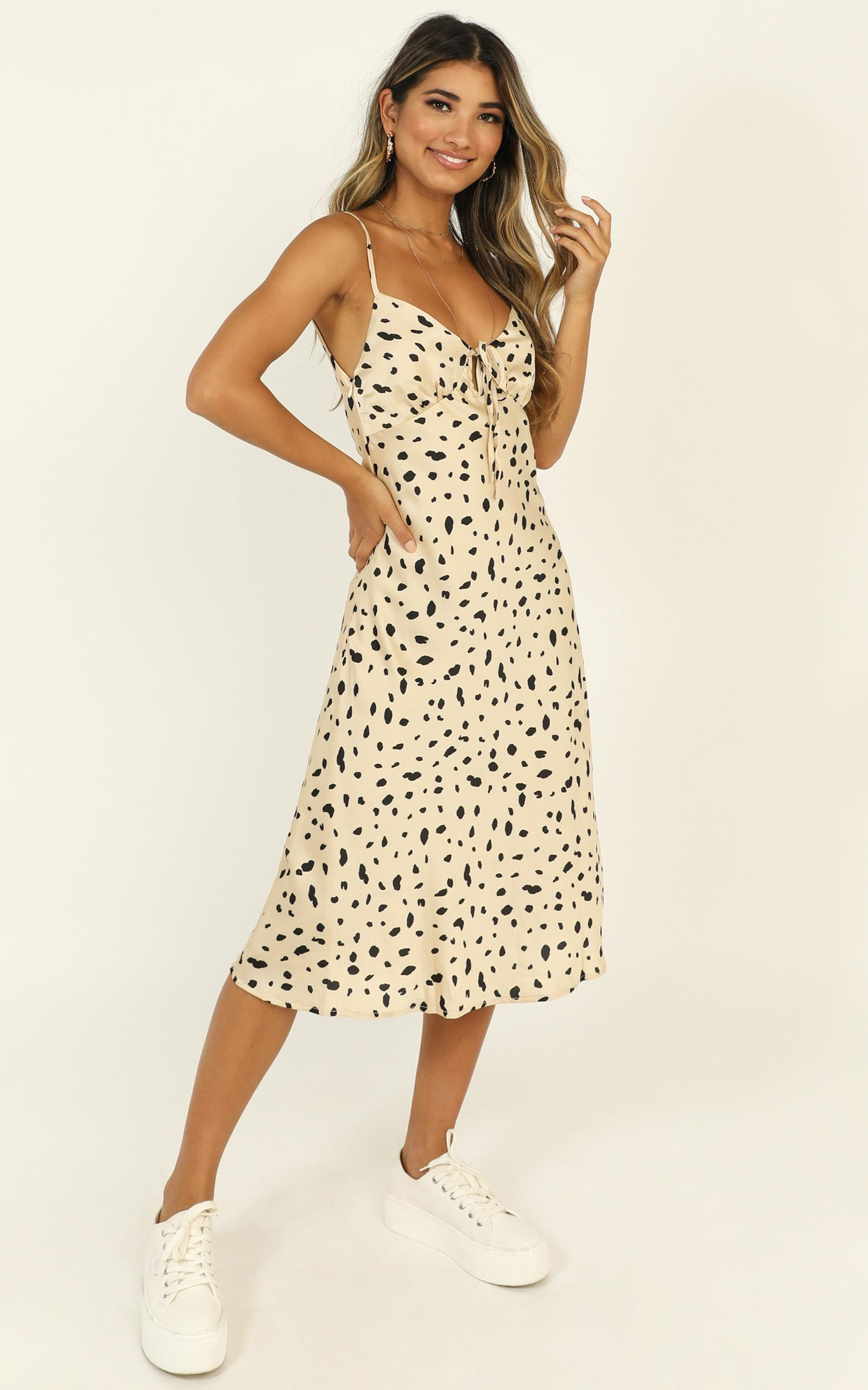 Toss The Dice dress in leopard print - 16 (XXL), Brown, hi-res image number null
