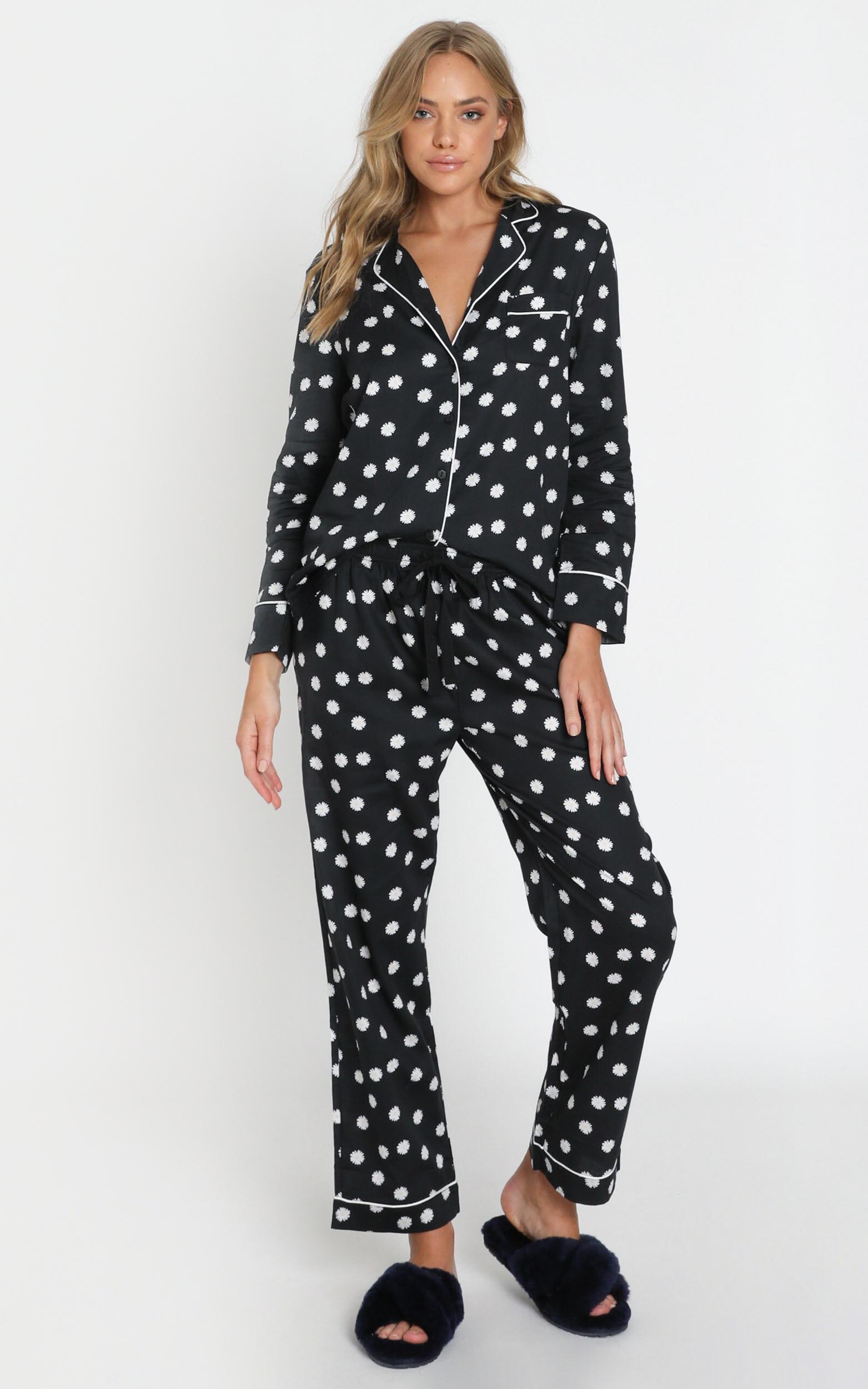 Project REM Pyjama Set in Black Daisy - 6 (XS), Black, hi-res image number null