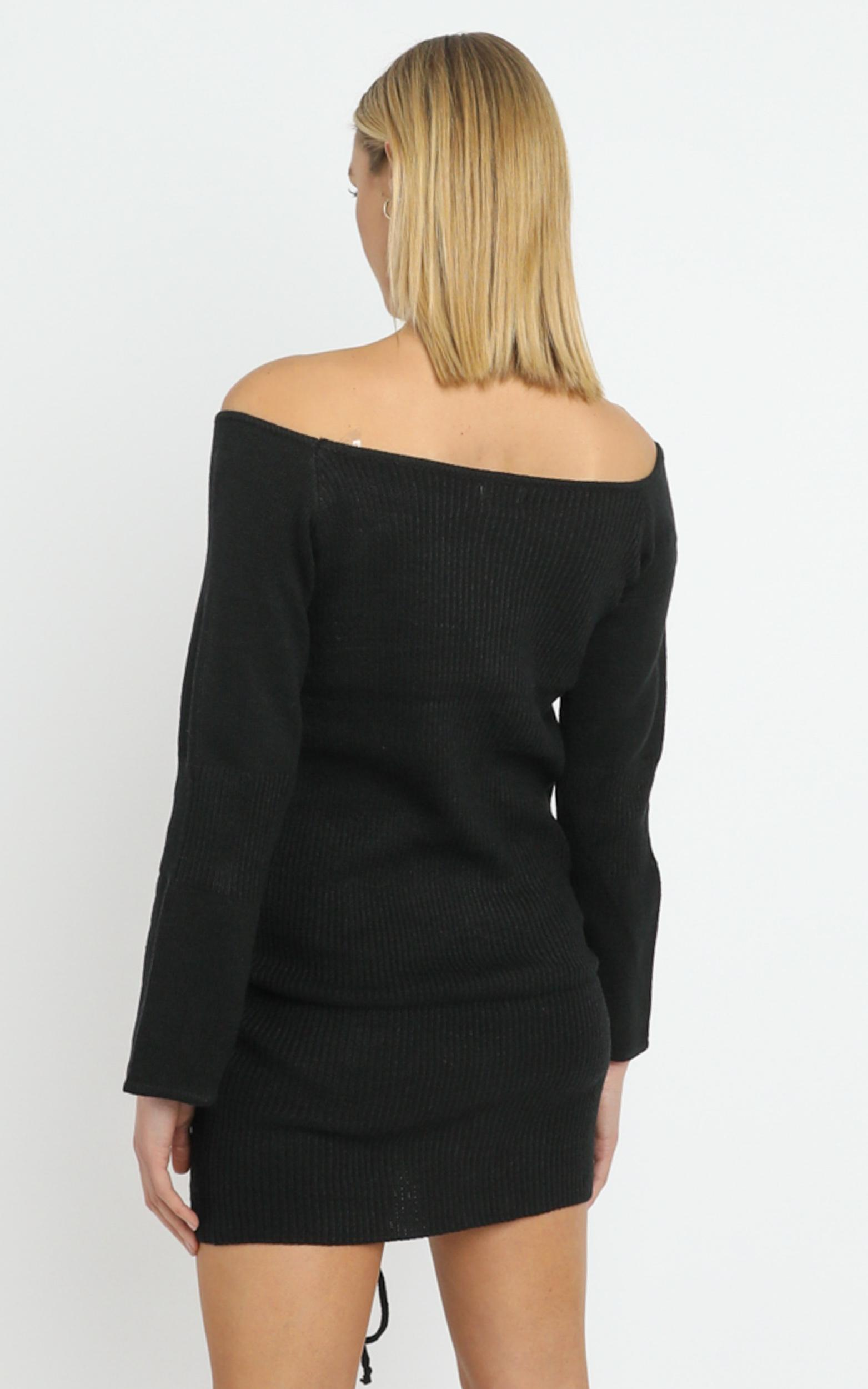 Susie Ruched Front Knit Dress in Black - 12 (L), Black, hi-res image number null