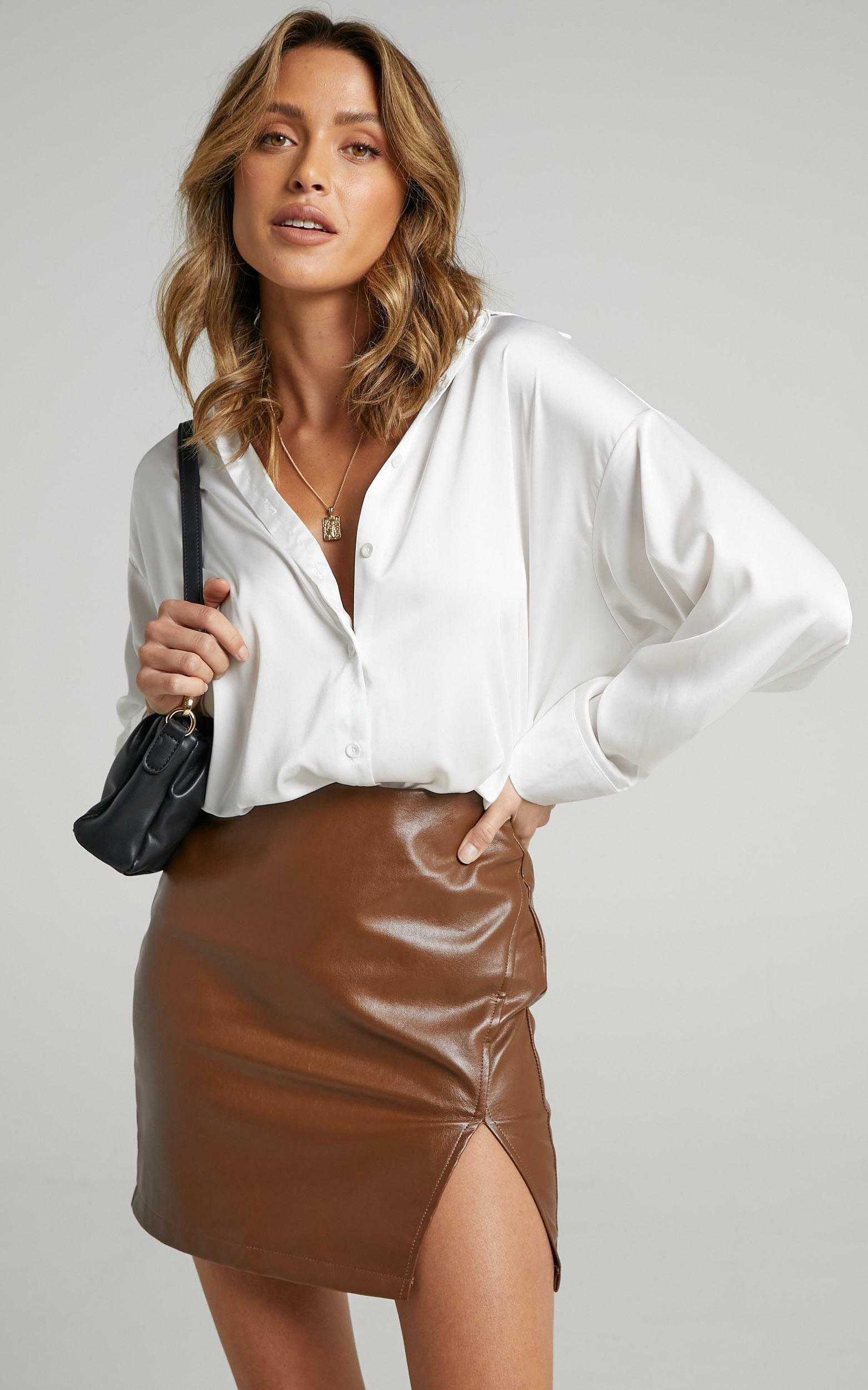 In The Name Of Love  Leatherette Mini Skirt in Chocolate - 16, BRN3, hi-res image number null