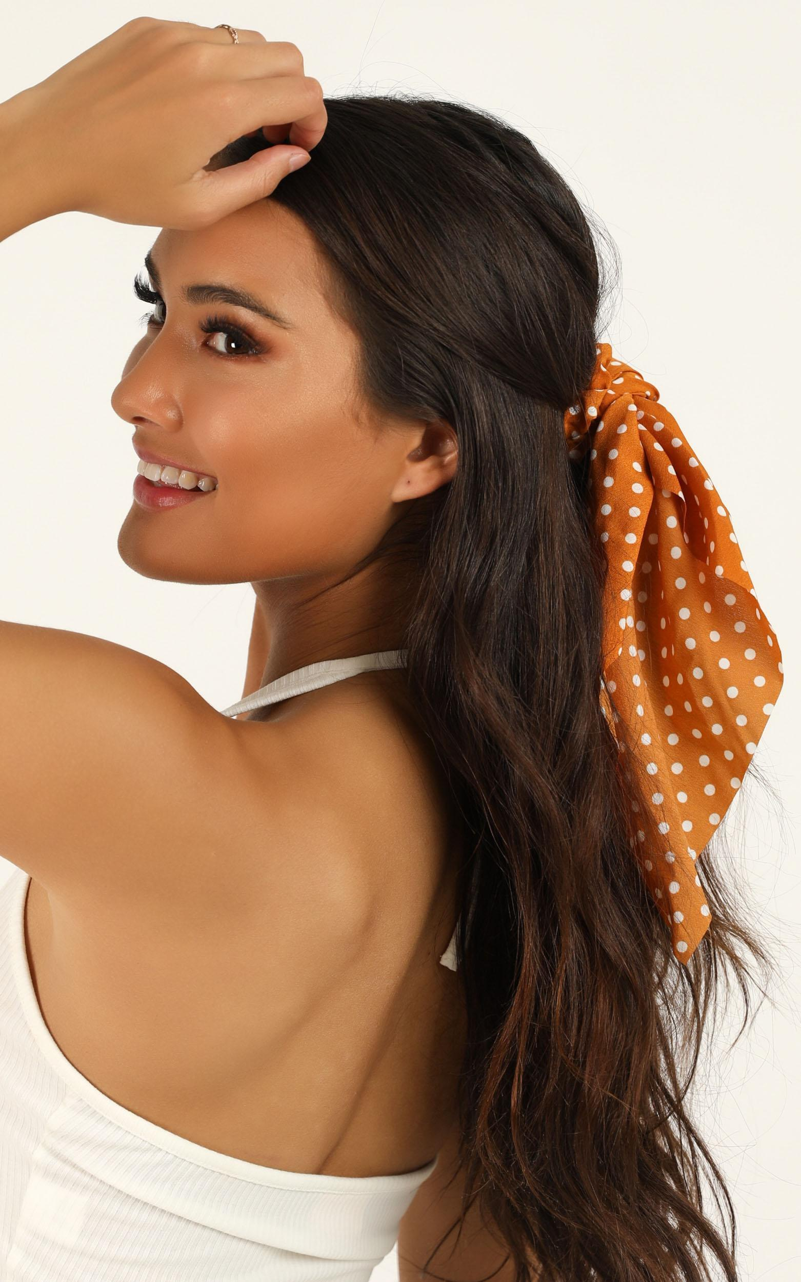 Still Dreaming Scrunchie 2 Pack In Rust And Navy Spot, Navy, hi-res image number null
