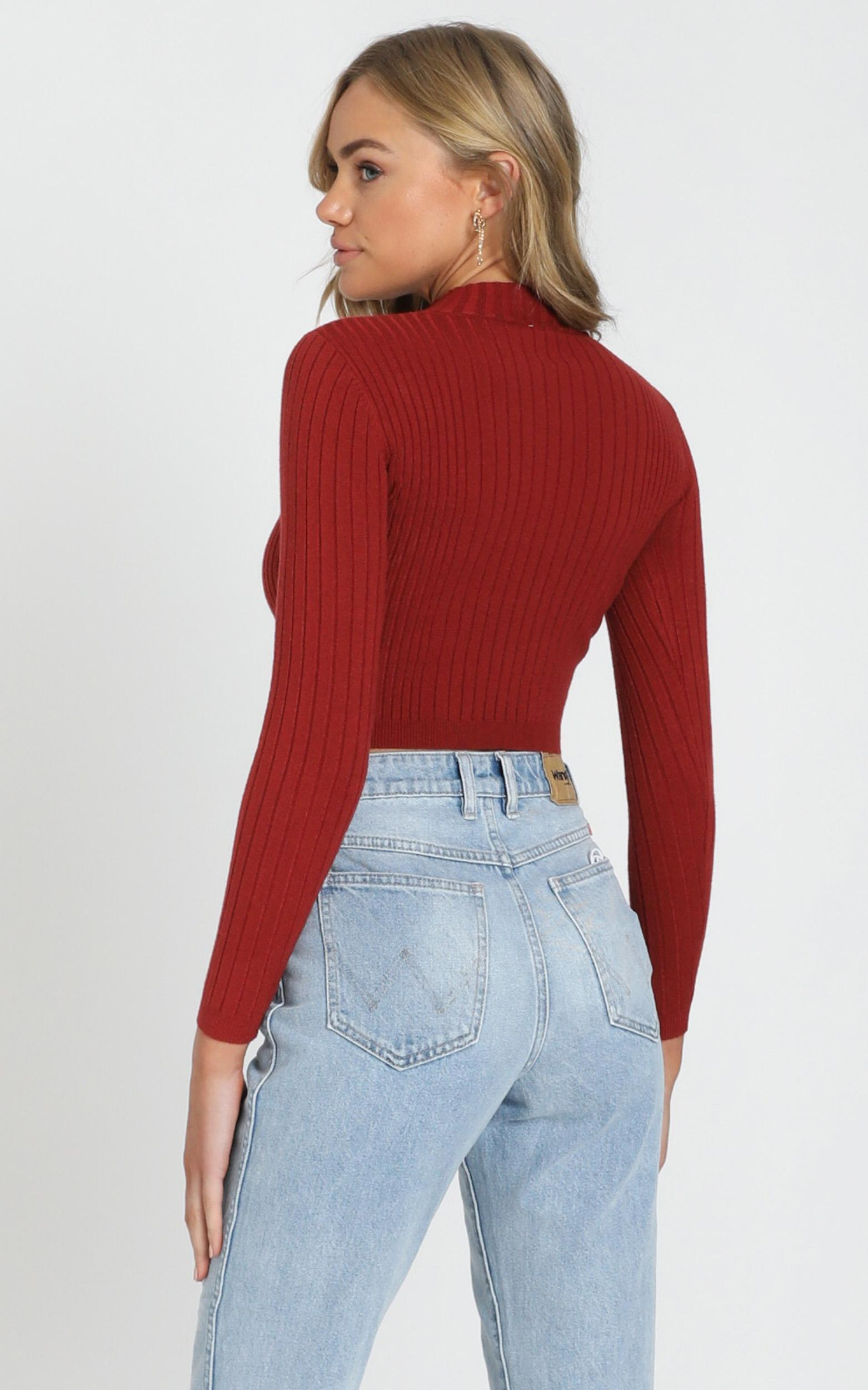 Downtown Dreams knit top in Wine  - 6 (XS), Wine, hi-res image number null