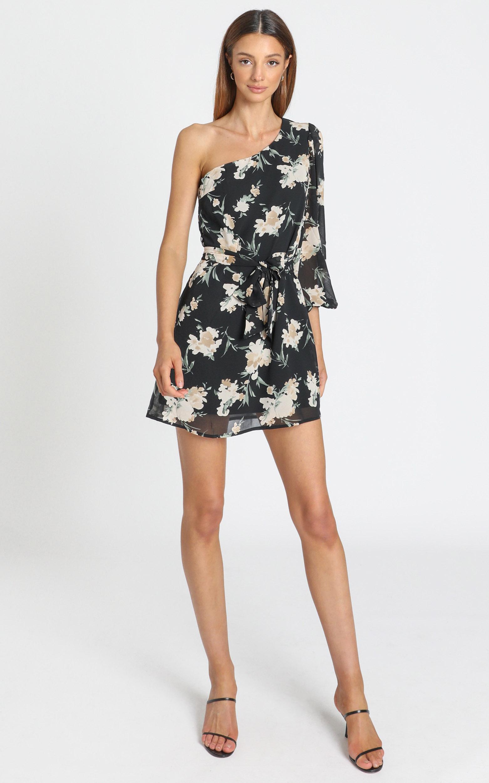 Tasha Dress in black floral - 6 (XS), Black, hi-res image number null
