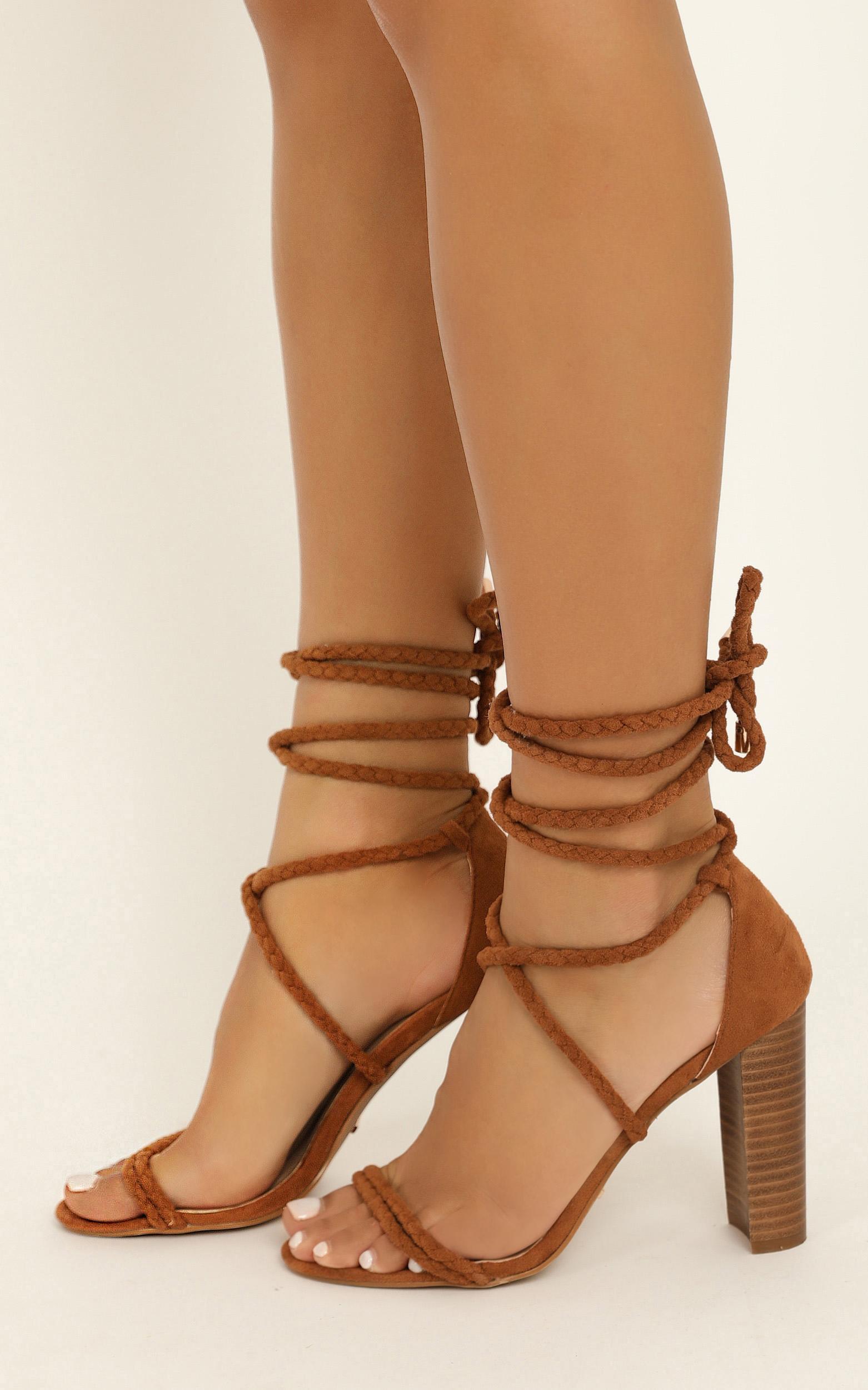Showpo X Billini - Burano heels in chestnut micro - 10, Tan, hi-res image number null