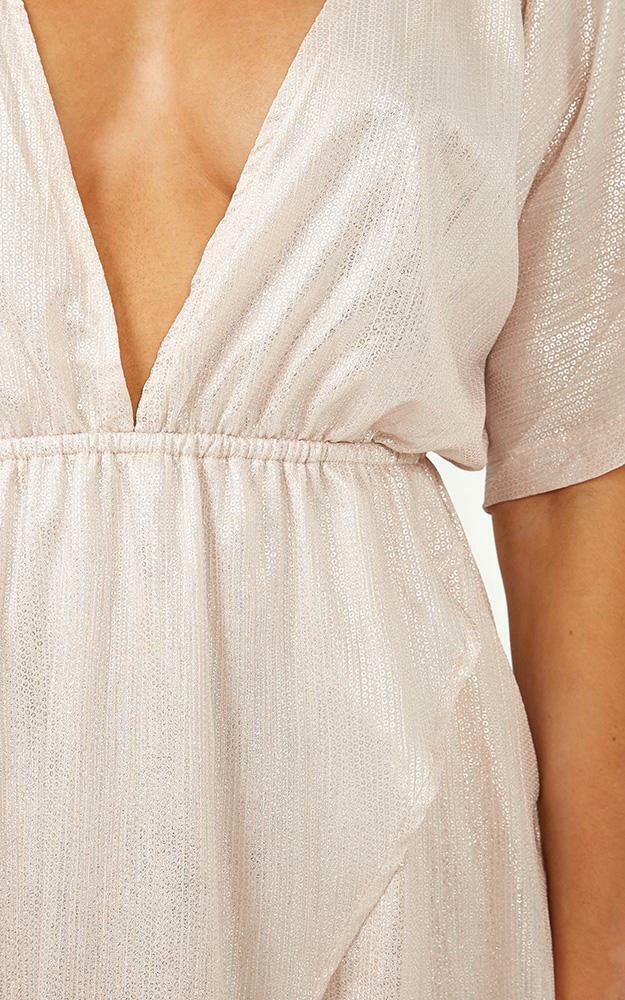 Show Me The Way Maxi Dress in blush metallic - 12 (L), Blush, hi-res image number null