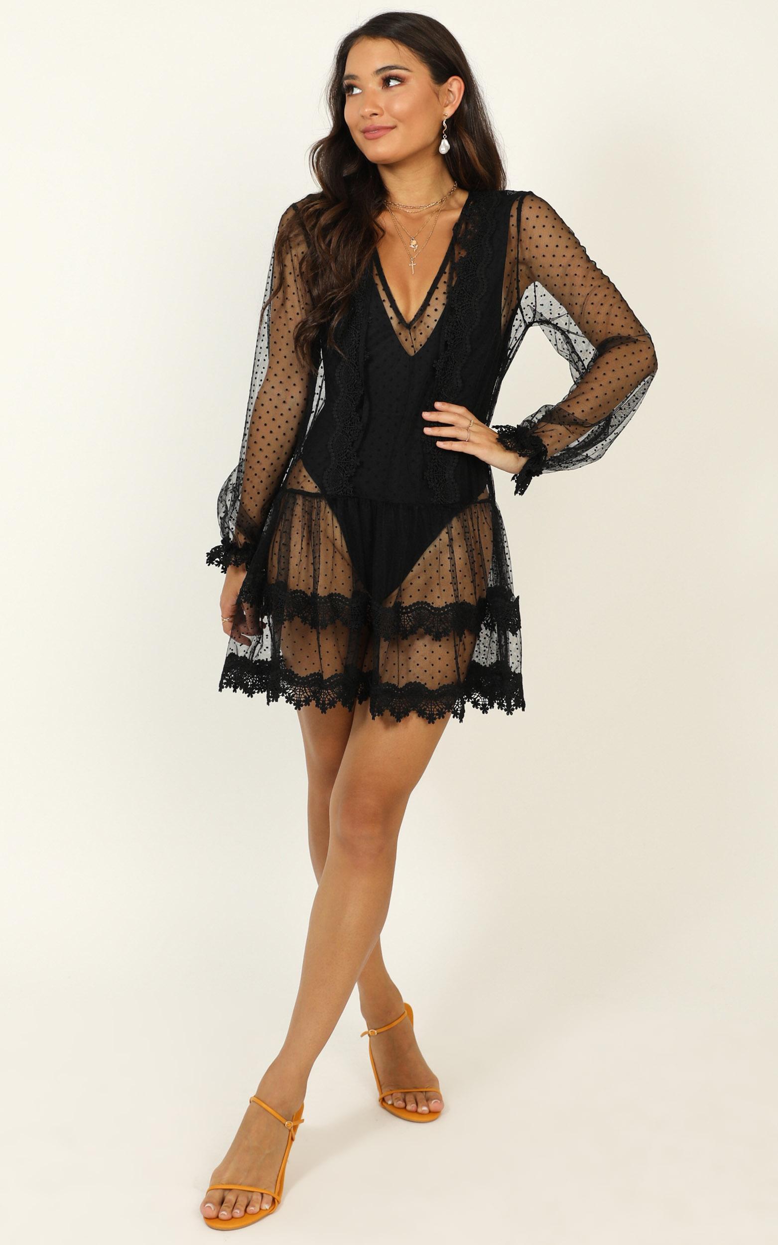 Summer Frolick Dress In black spot - 14 (XL), Black, hi-res image number null
