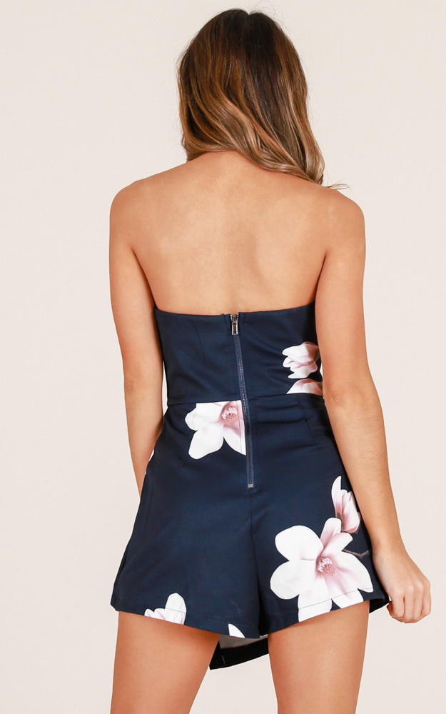 Caught My Eyes playsuit in navy floral - 6 (XS), NVY1, hi-res image number null