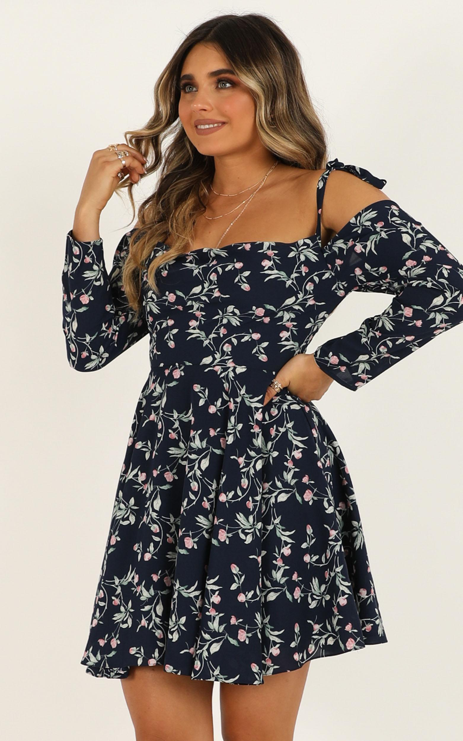 Constant State Dress in navy floral - 16 (XXL), Navy, hi-res image number null