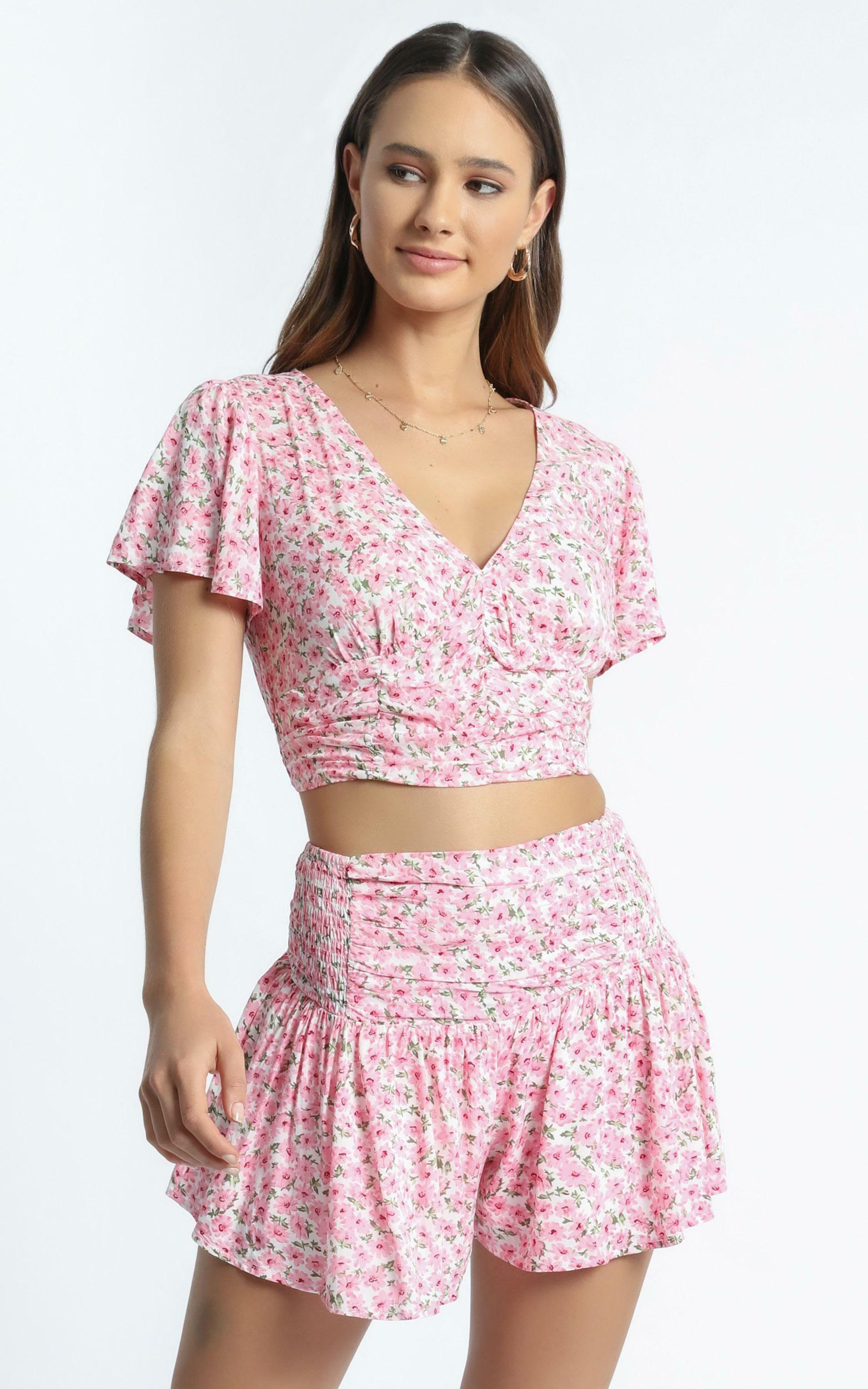 Candy Two Piece Set In Pink Floral - 6 (XS), PNK29, hi-res image number null