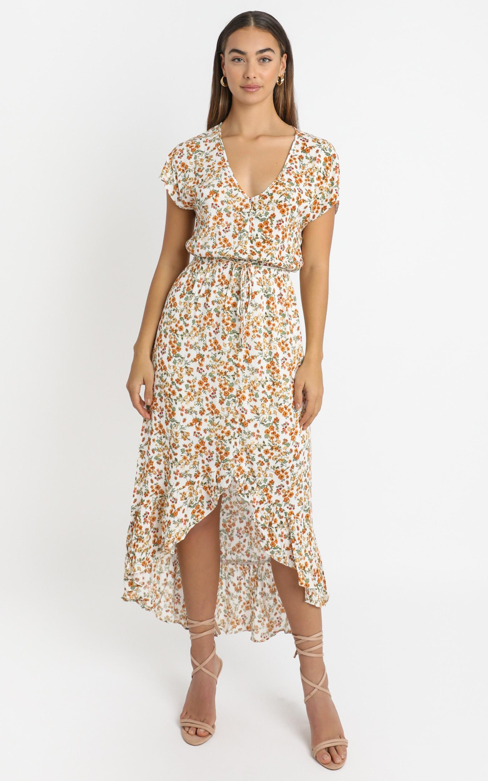Adira Dress in White Floral - 6 (XS), White, hi-res image number null