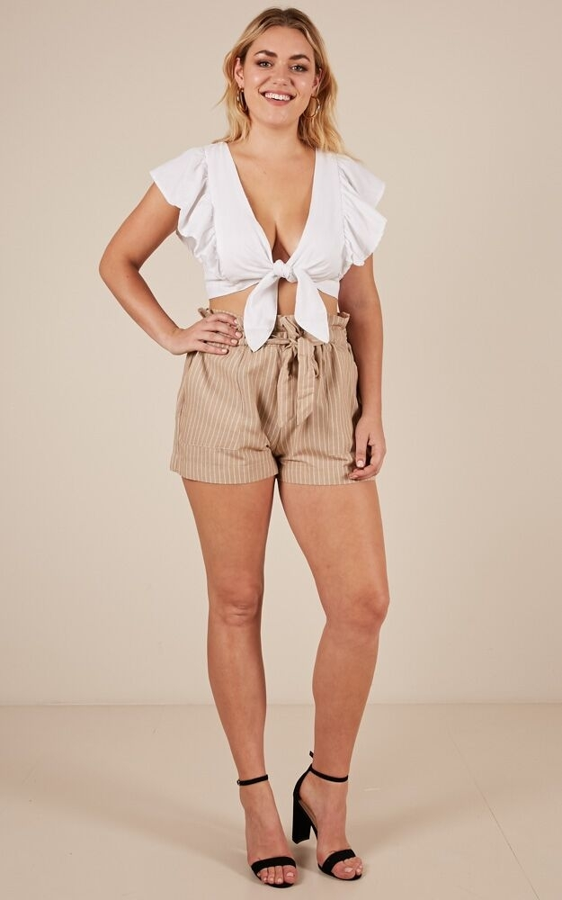 All Rounder shorts in beige stripe - 6 (XS), BRN4, hi-res image number null