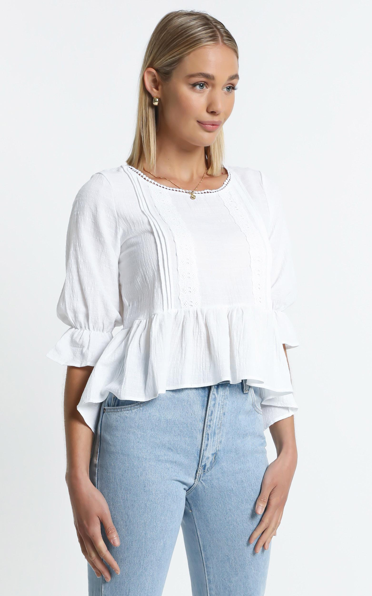 Locky Top in White - 6 (XS), White, hi-res image number null