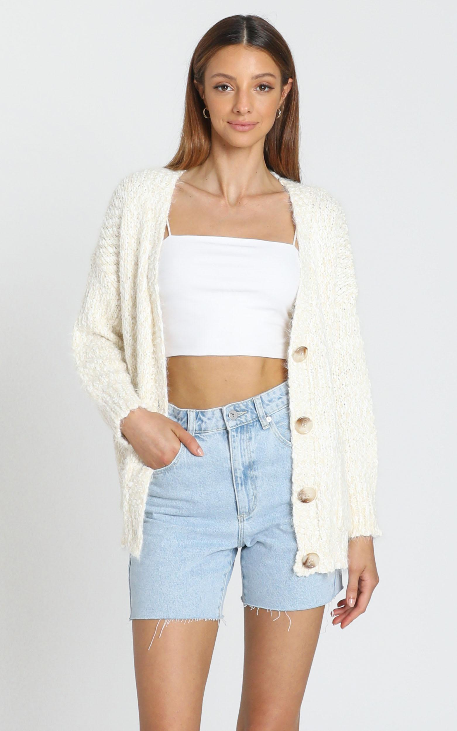 Kacey Super Soft Cardigan in ivory - S/M, Cream, hi-res image number null