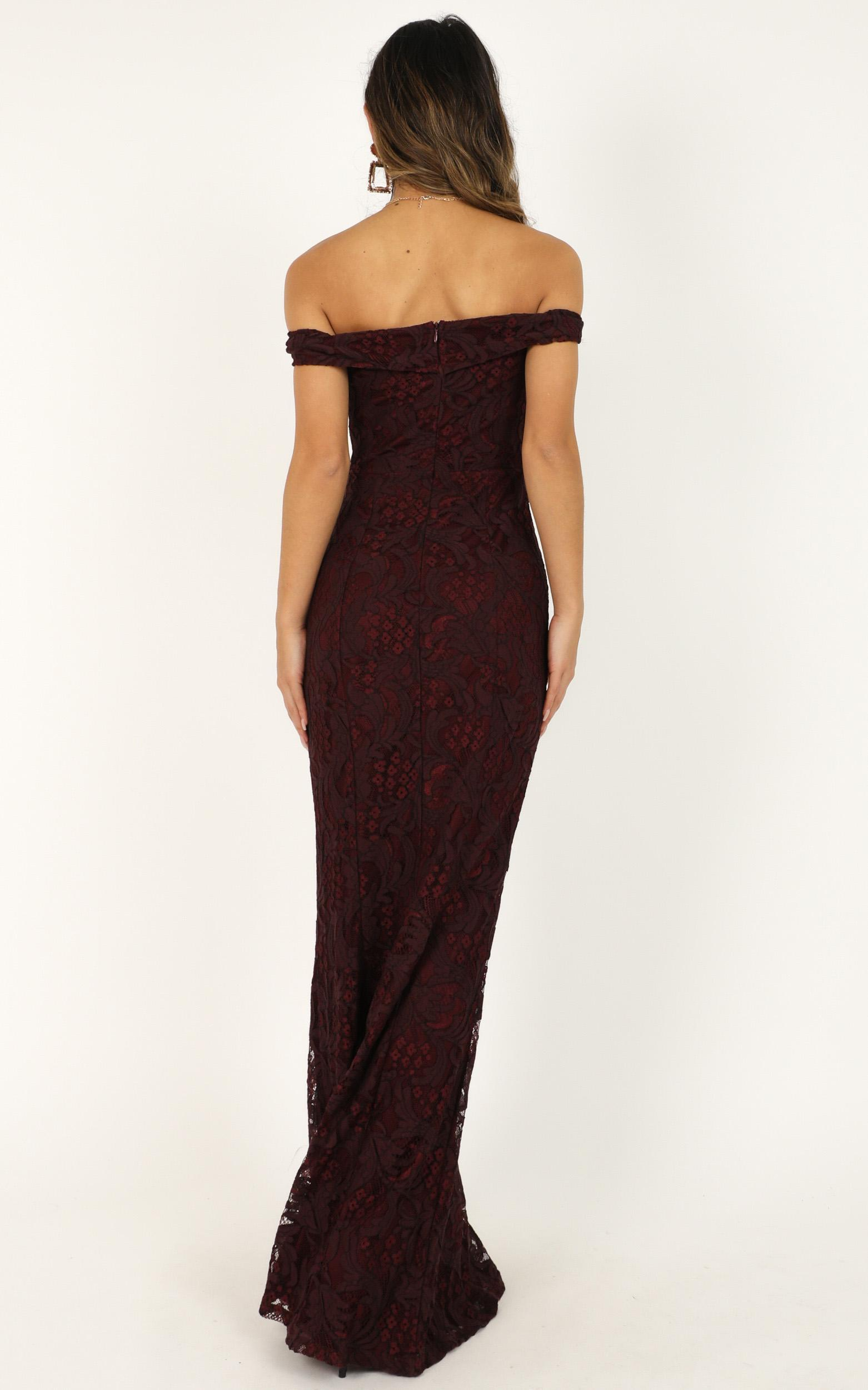 Tell It To The World Dress in wine lace - 4 (XXS), Wine, hi-res image number null