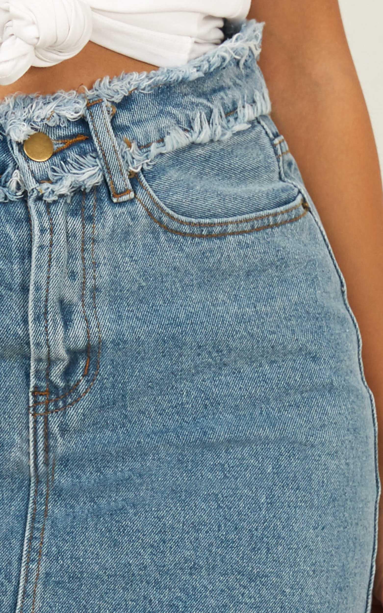 No Stopping Us denim skirt in mid wash - 14 (XL), Blue, hi-res image number null
