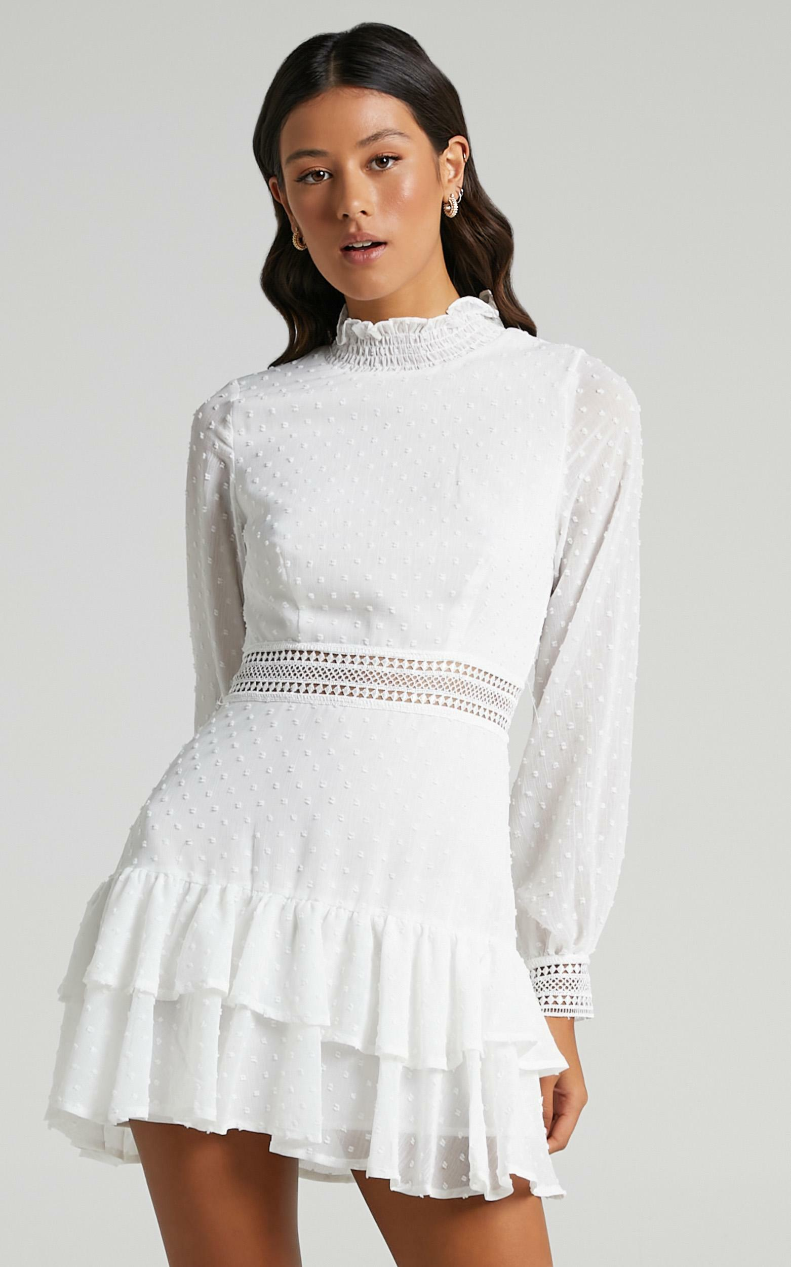 Are You Gonna Kiss Me Long Sleeve Mini Dress in White - 20, WHT6, hi-res image number null