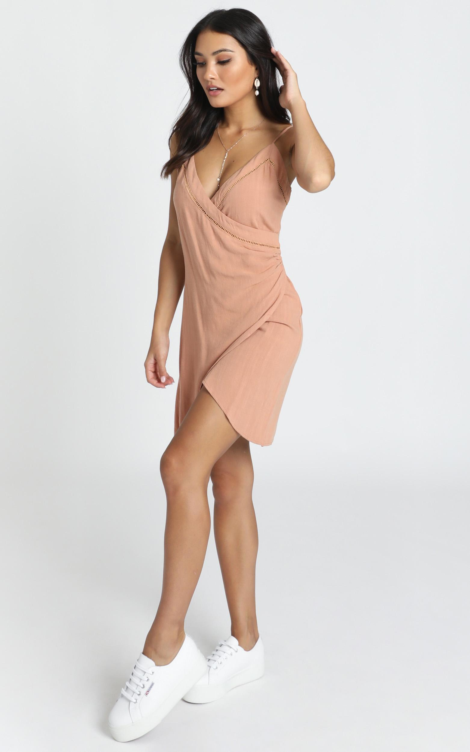 Christy Trim Detail Mini Dress in rust linen look - 12 (L), Rust, hi-res image number null