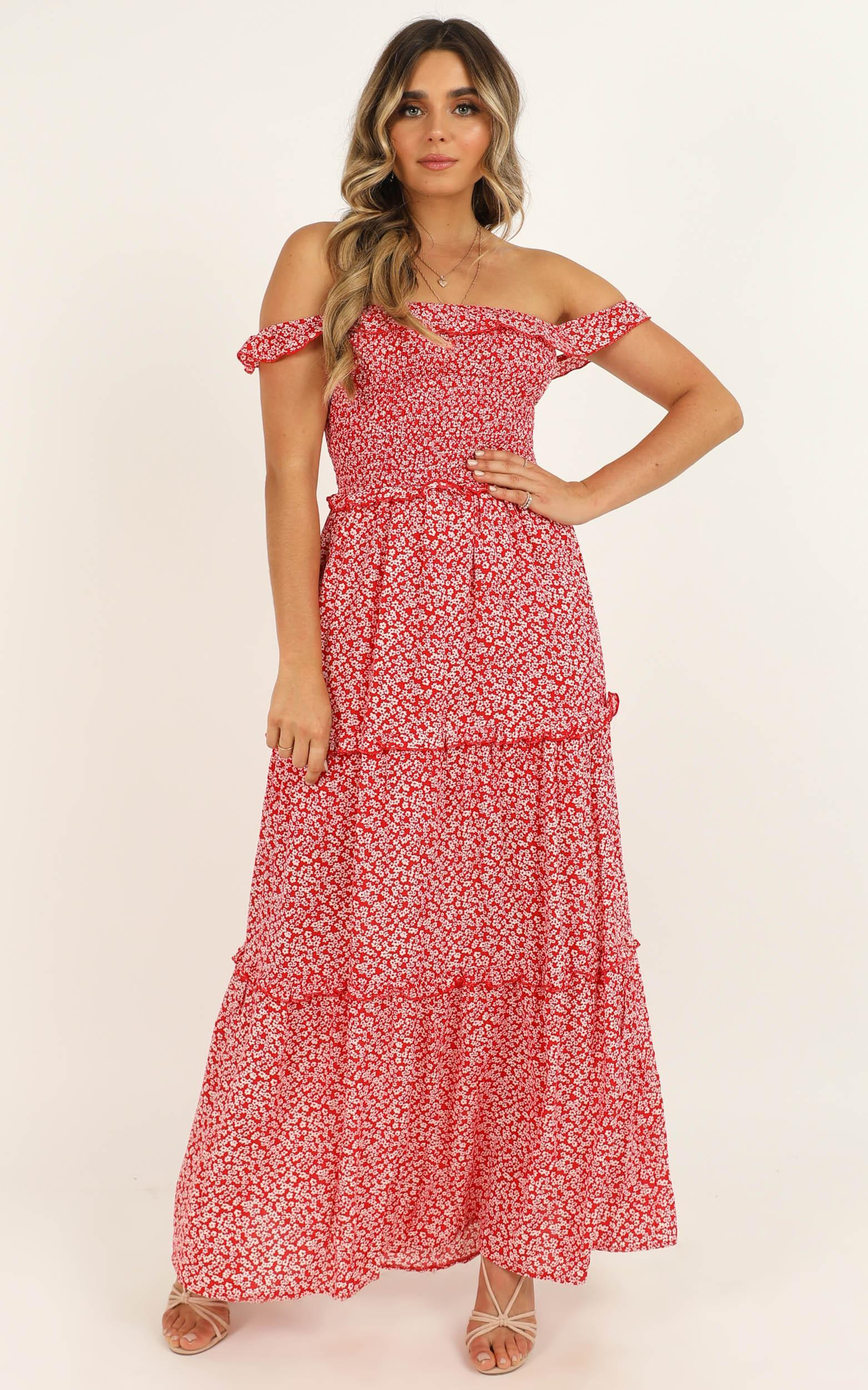 Beauty Around Us dress in red floral - 12 (L), Red, hi-res image number null