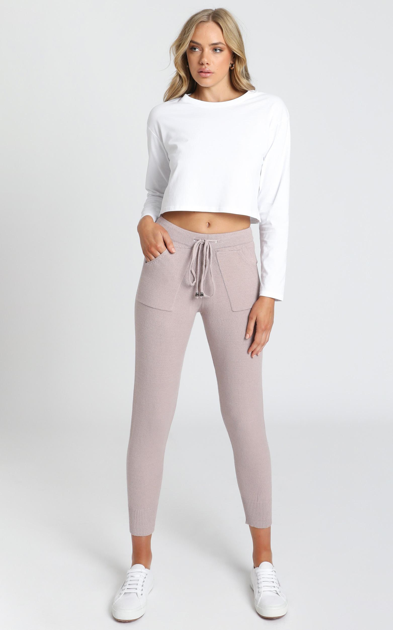 Lounge in Style Knit Pant in Mocha Marle - 8 (S), Mocha, hi-res image number null