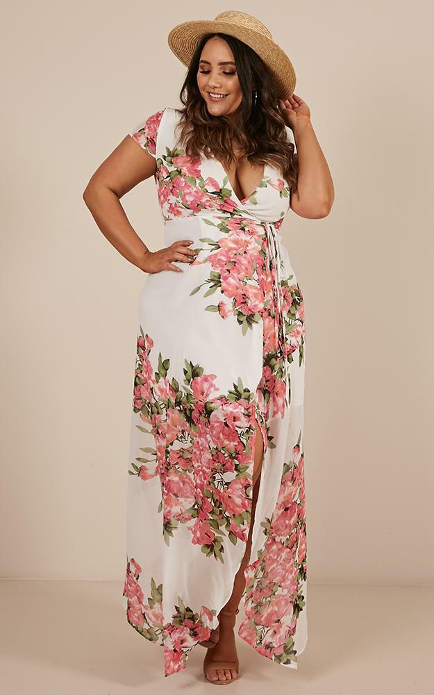 Wrap And Cross maxi dress in white floral - 20 (XXXXL), White, hi-res image number null