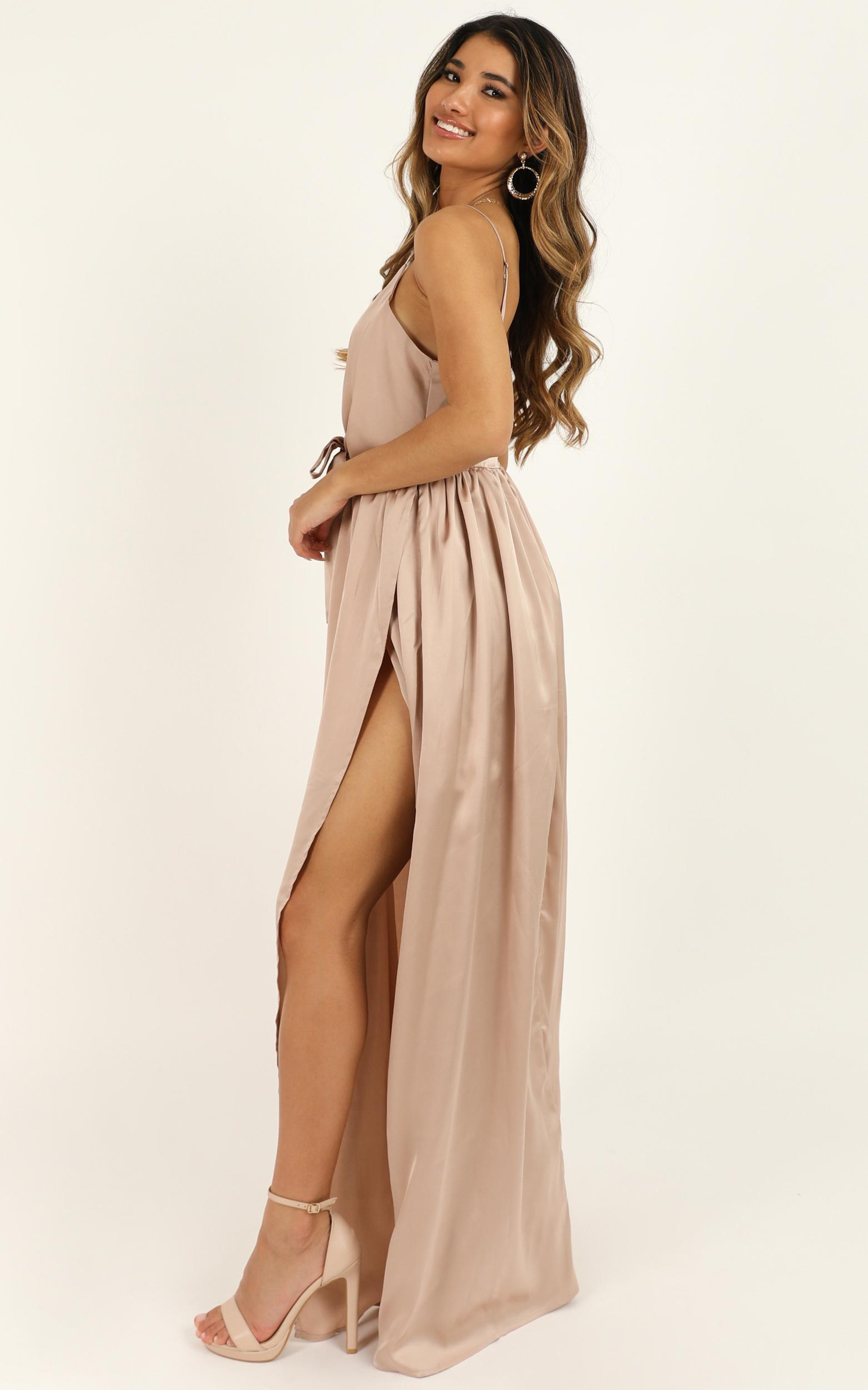 Miracle Worker Dress in mocha satin - 8 (S), Mocha, hi-res image number null