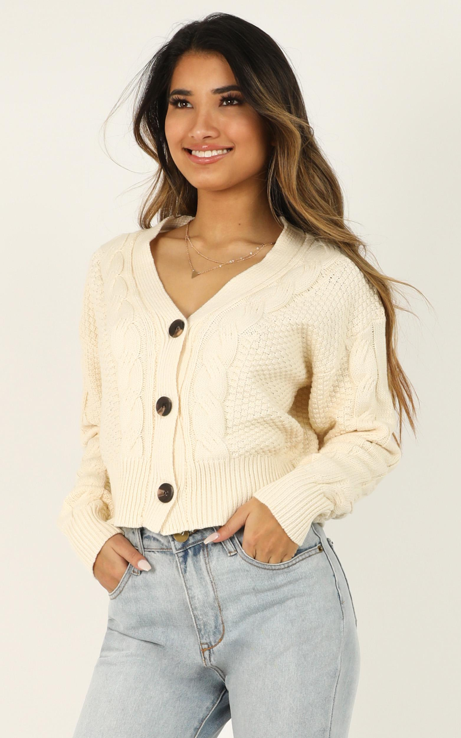 Not Around Knit Cardigan in cream - 12 (L), Cream, hi-res image number null