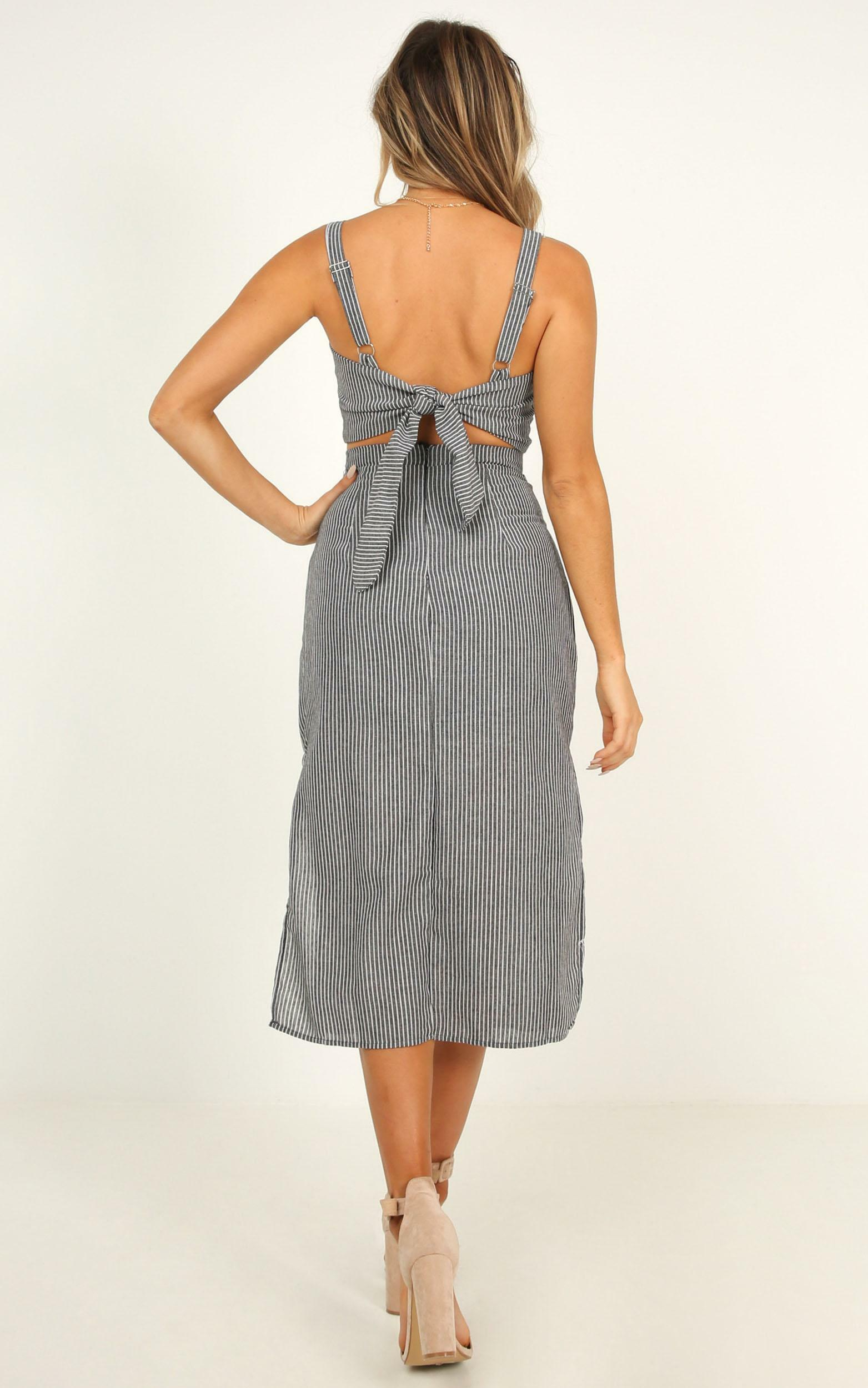 Drum Hits Two Piece Set In grey stripe - 12 (L), Grey, hi-res image number null