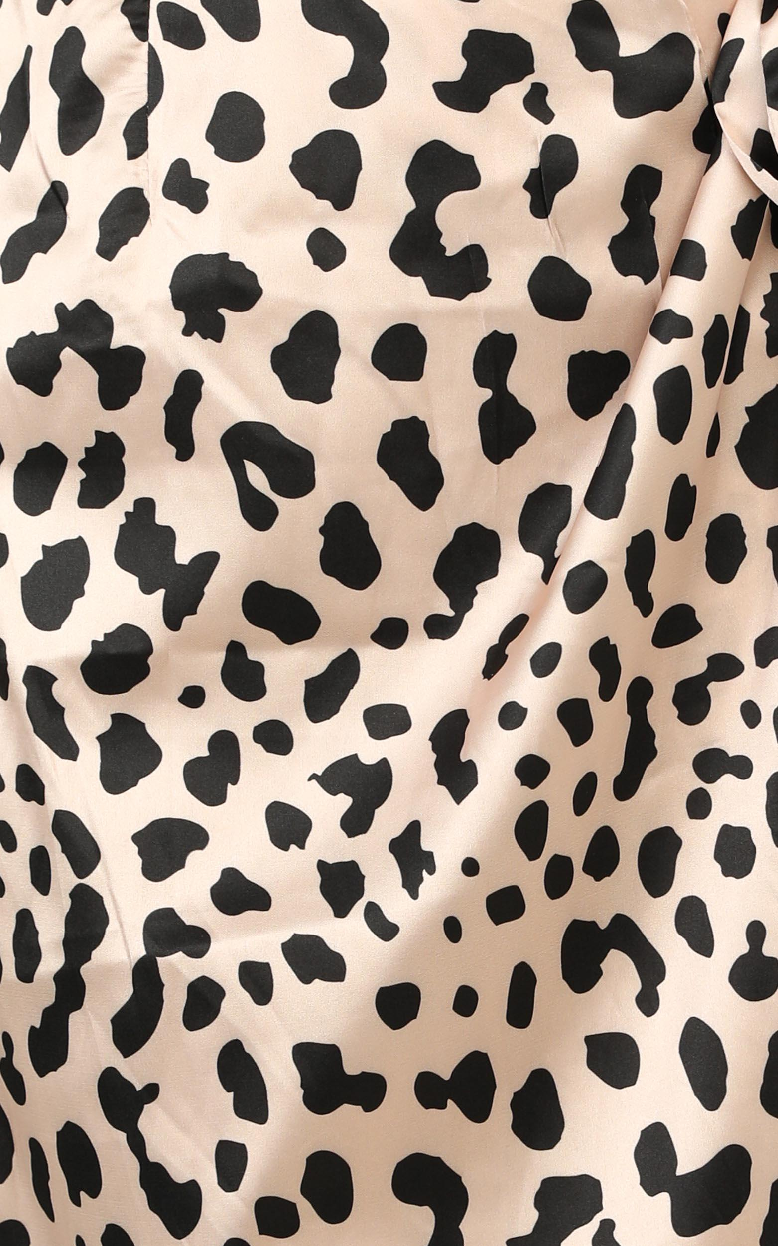 Madame Bovary Midi Skirt In Leopard Print Satin - 16 (XXL), Brown, hi-res image number null