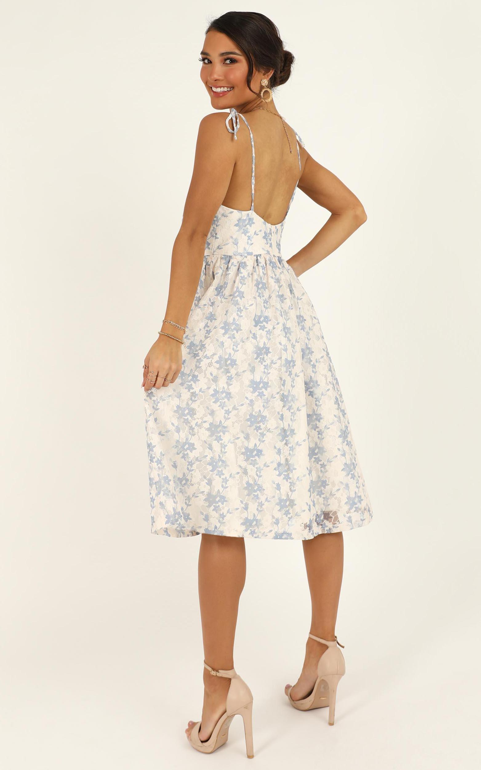 Lace Get It On Dress In white blue lace - 20 (XXXXL), Blue, hi-res image number null
