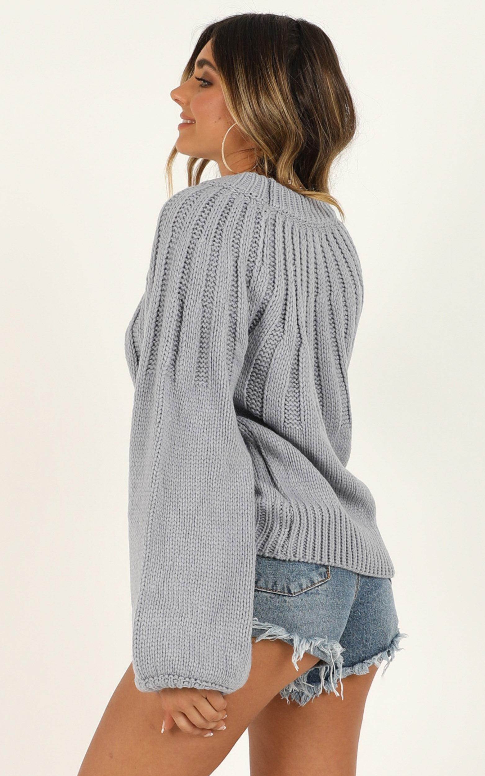Fade Into You jumper in dusty blue - 6 (XS), Blue, hi-res image number null