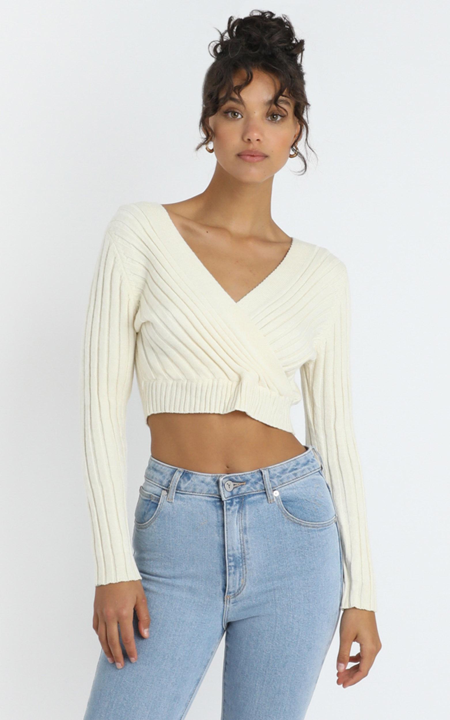 Zina Knit Top in Cream - 8 (S), Cream, hi-res image number null