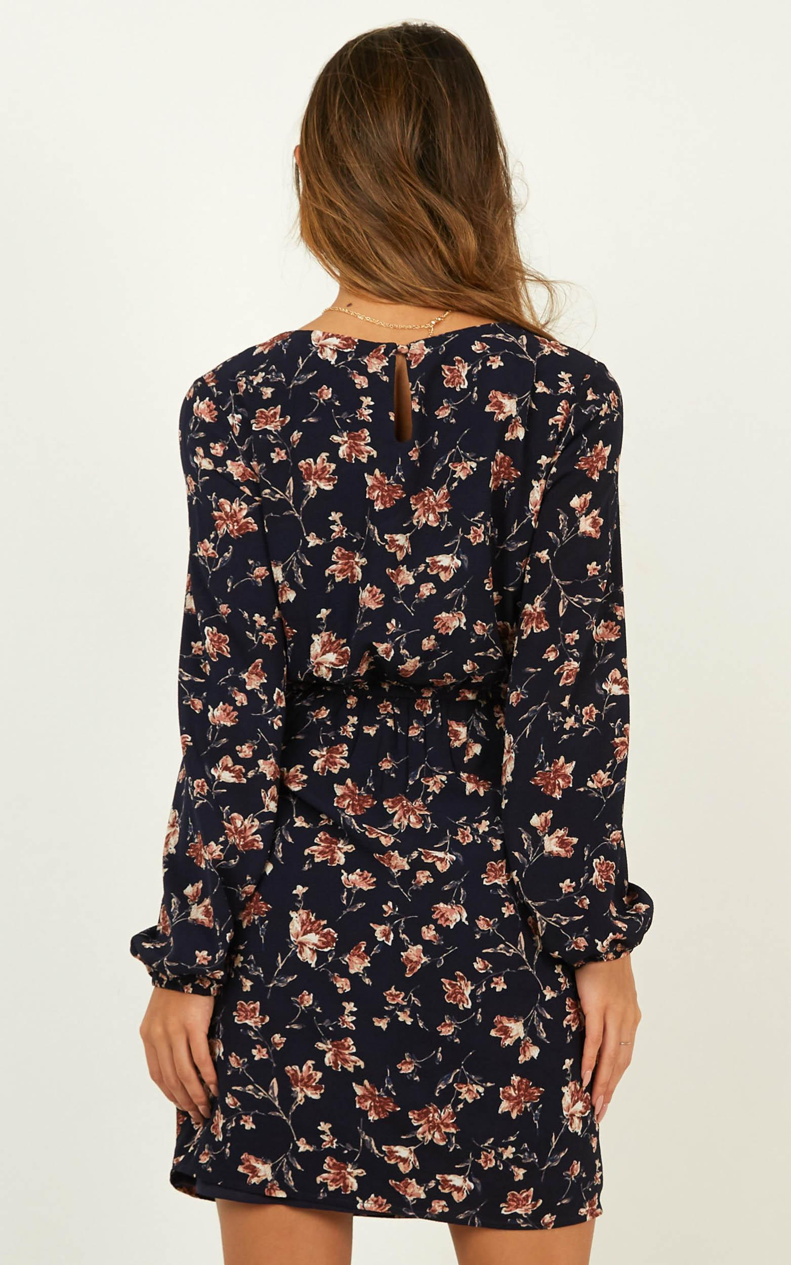 One Last Chance Dress in navy floral - 4 (XXS), Navy, hi-res image number null