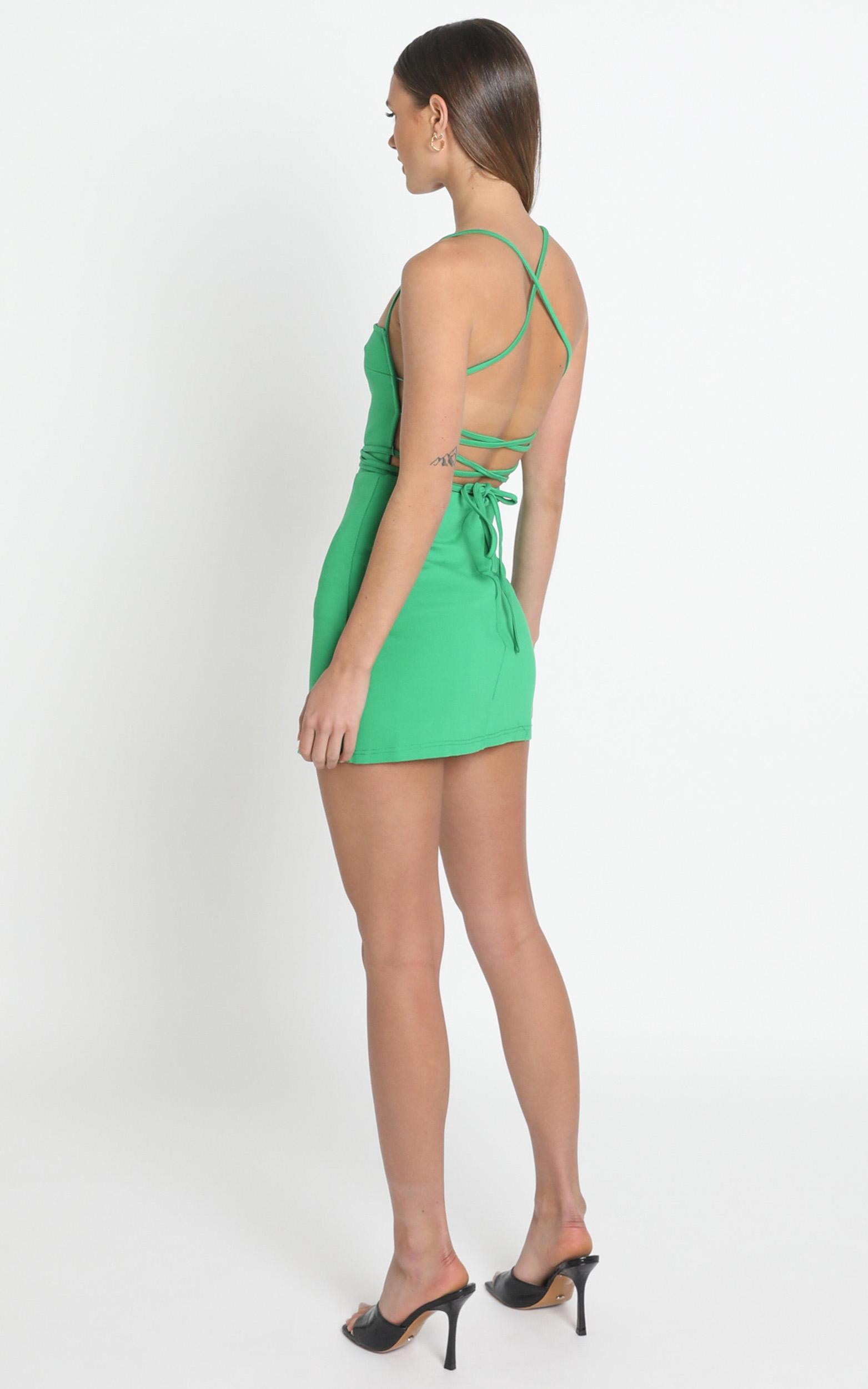 Tamara Strappy Back Mini Dress in green - 6 (XS), Green, hi-res image number null
